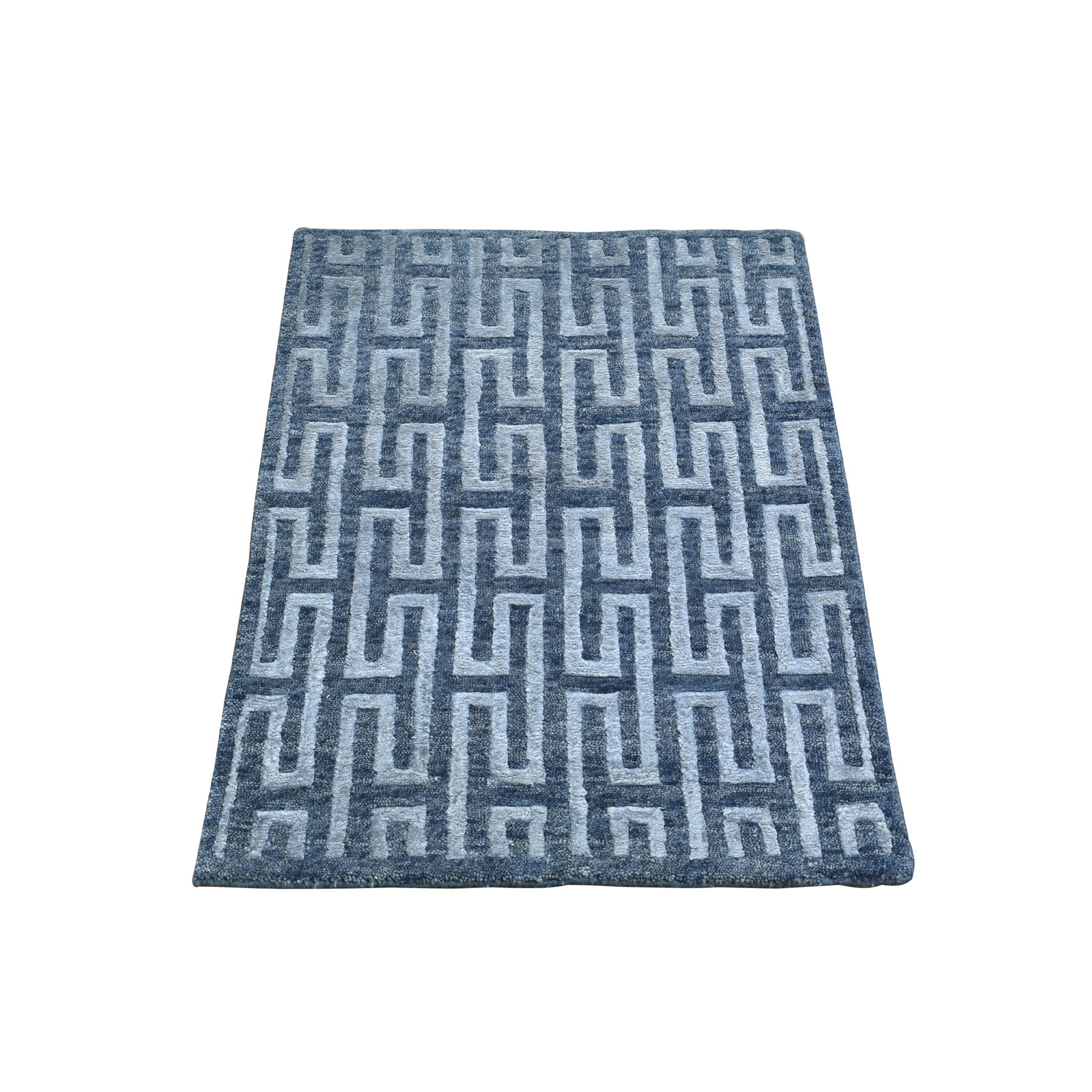 2-x2-10  Silver Blue Wool and Silk Modern Hand Knotted Oriental Rug