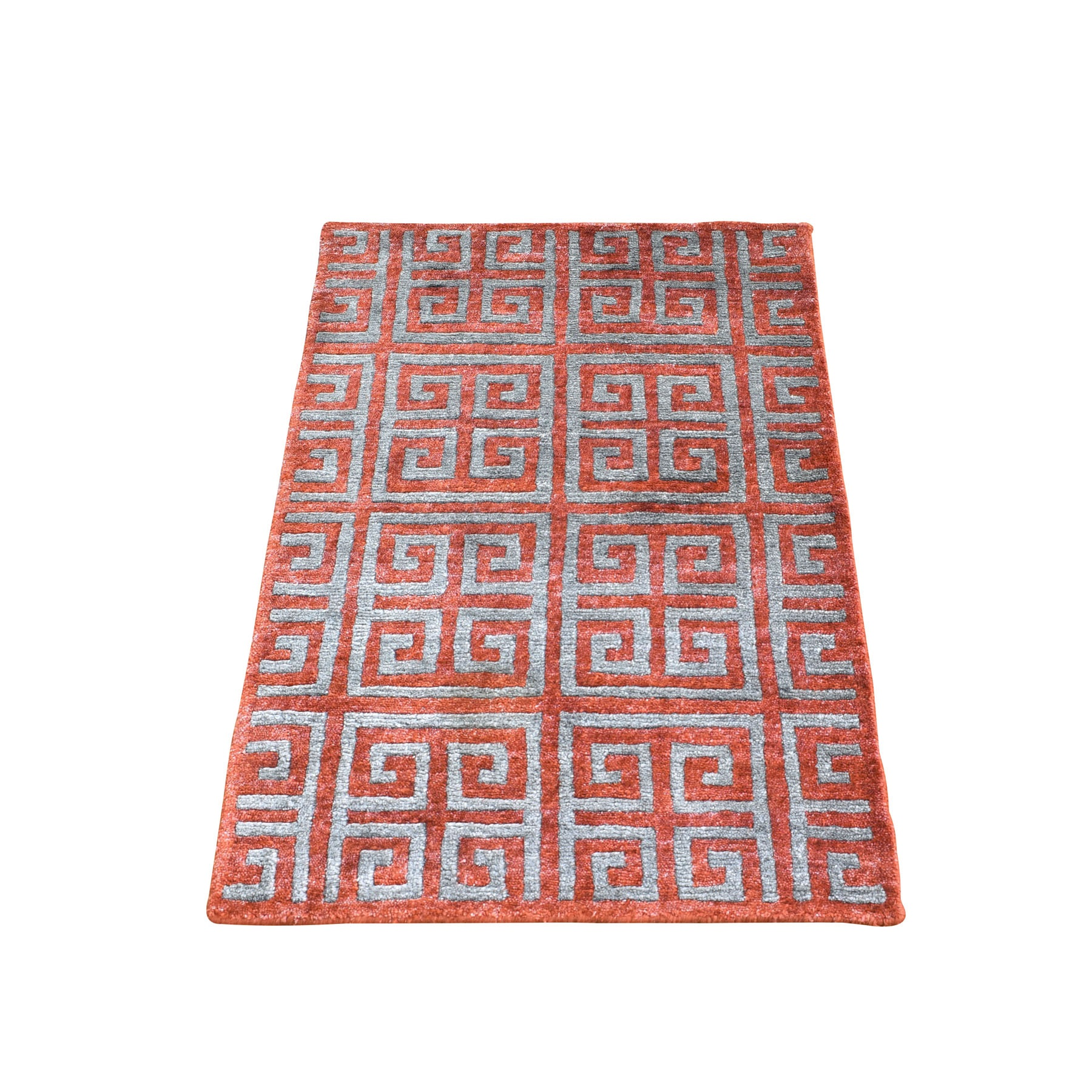 2'X3' Orange Rust Modern Wool And Silk Geometric Design Hand Knotted Oriental Rug moad960d