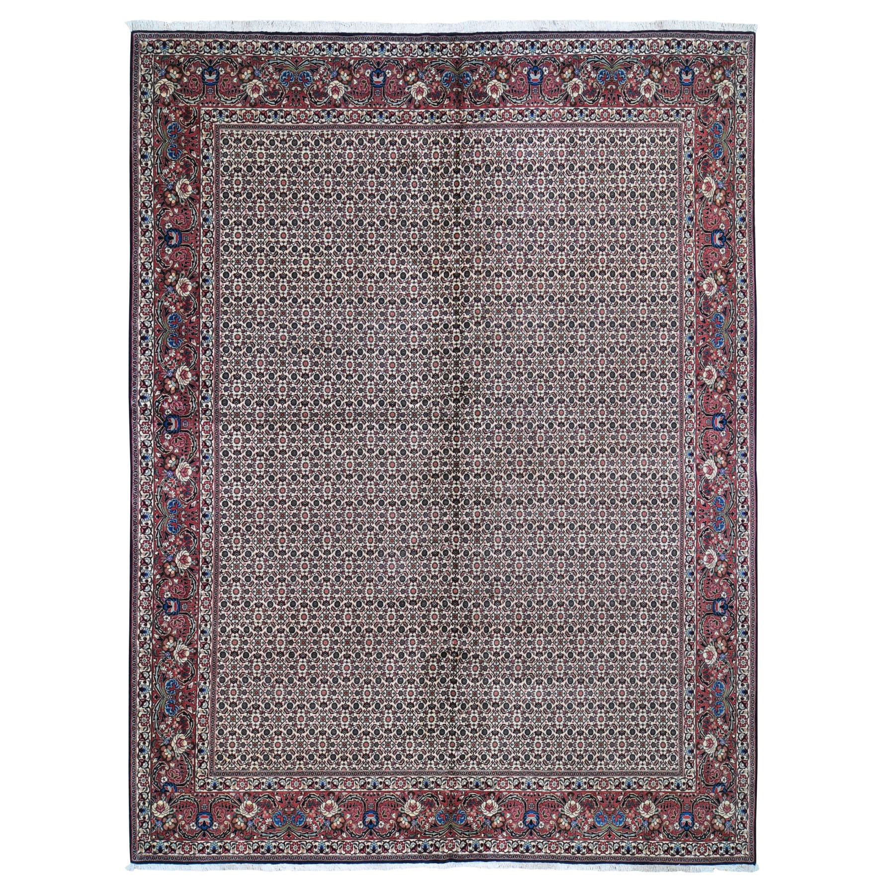 "10'X12'9"" New Persian Bijar Fish Design 400 Kpsi Wool And Silk Hand Knotted Oriental Rug moad96ac"
