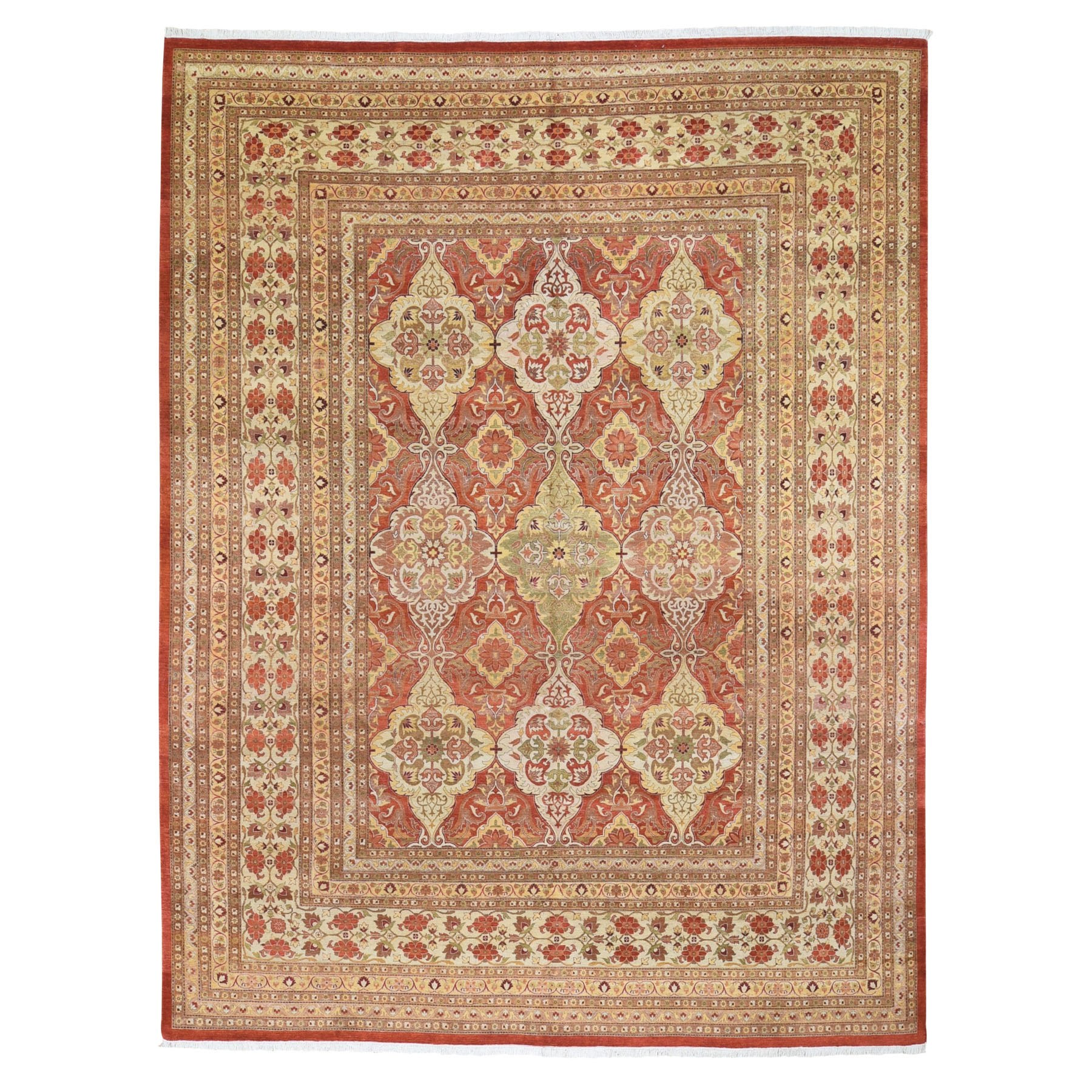 "9'2""X11'10"" Red New Pak Persian 300 Kpsi Vegetable Dyes Hand Knotted Pure Wool Oriental Rug moad96ad"