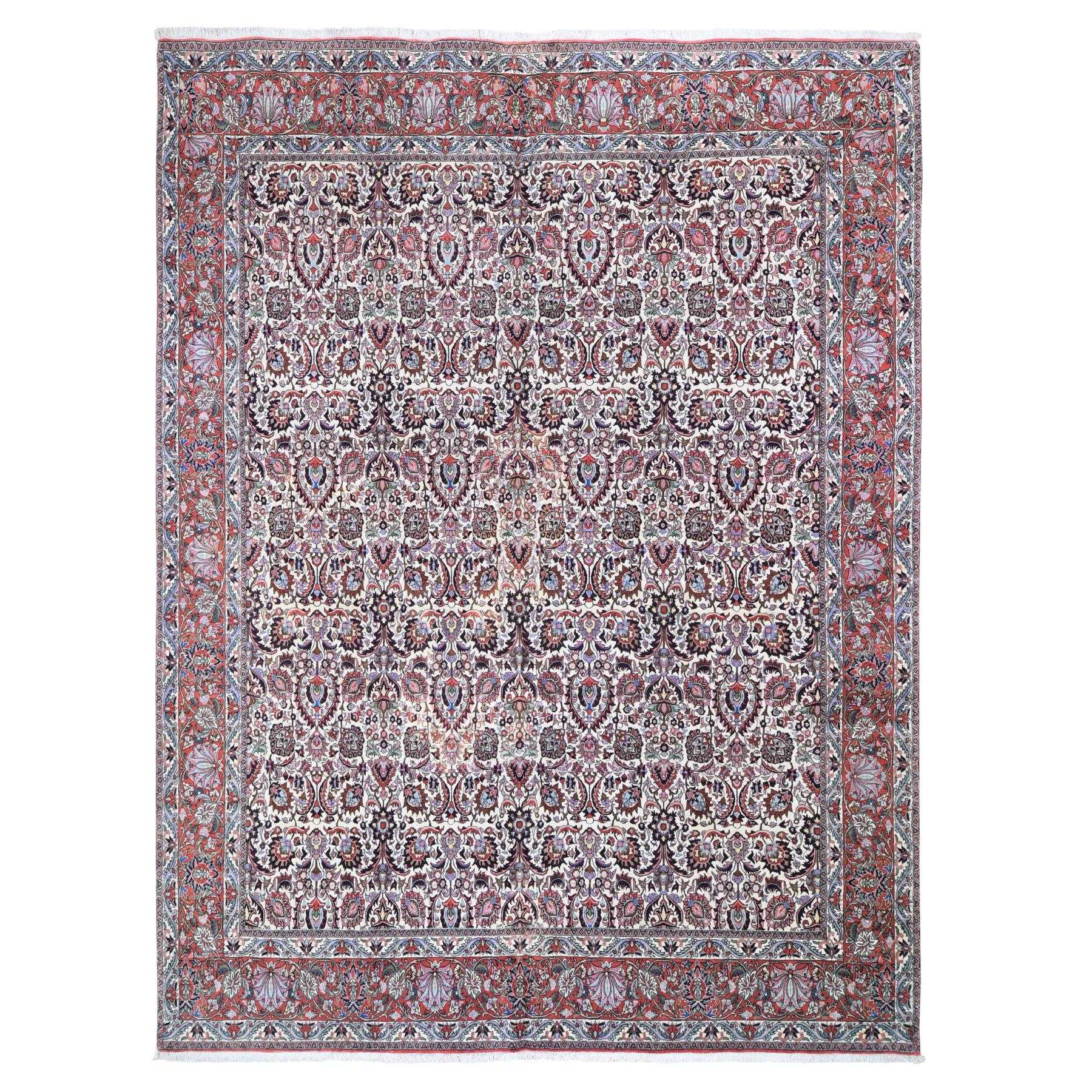 "9'10""X12'8"" Ivory New Persian Bijar 400 Kpsi Wool And Silk Hand Knotted Oriental Rug moad96ae"