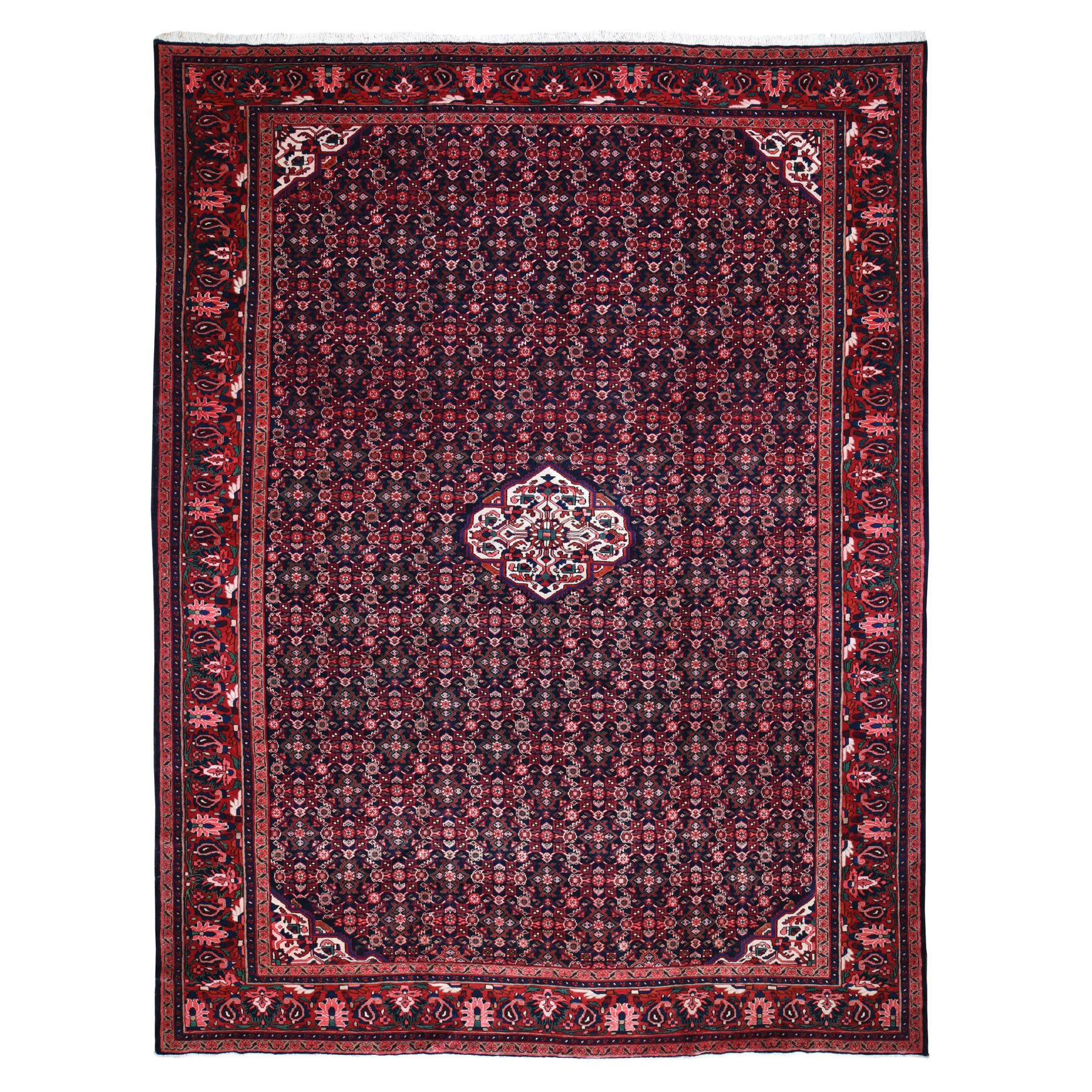 "10'7""X14' Red New Persian Mahal Fish Design Denser Weave Pure Wool Hand Knotted Oriental Rug moad96a7"