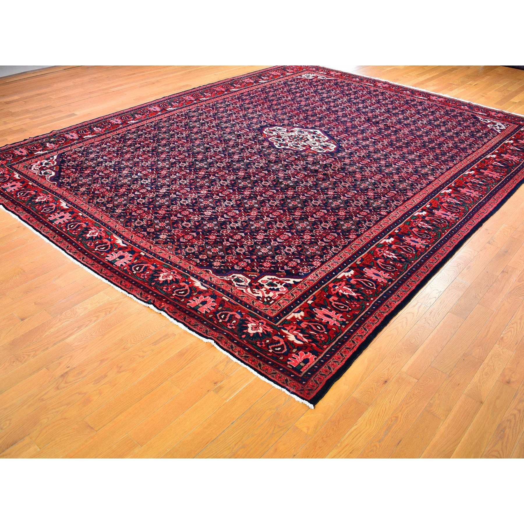 10-7 x14- Red New Persian Mahal Fish Design Denser Weave Pure Wool Hand Knotted Oriental Rug