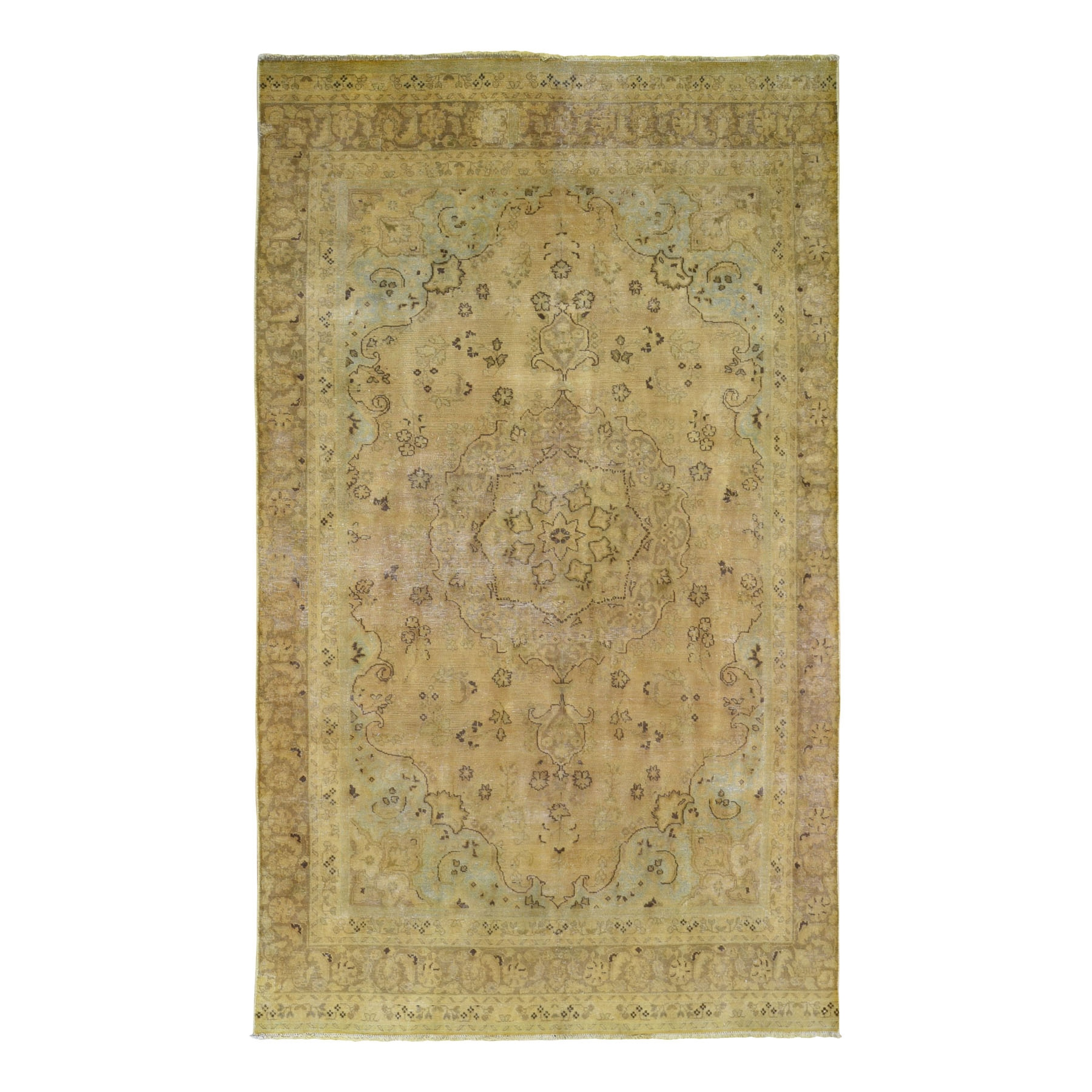 "5'5""X9'3"" Yellow Overdyed Persian Tabriz Pure Wool Hand Knotted Oriental Rug moad96ba"