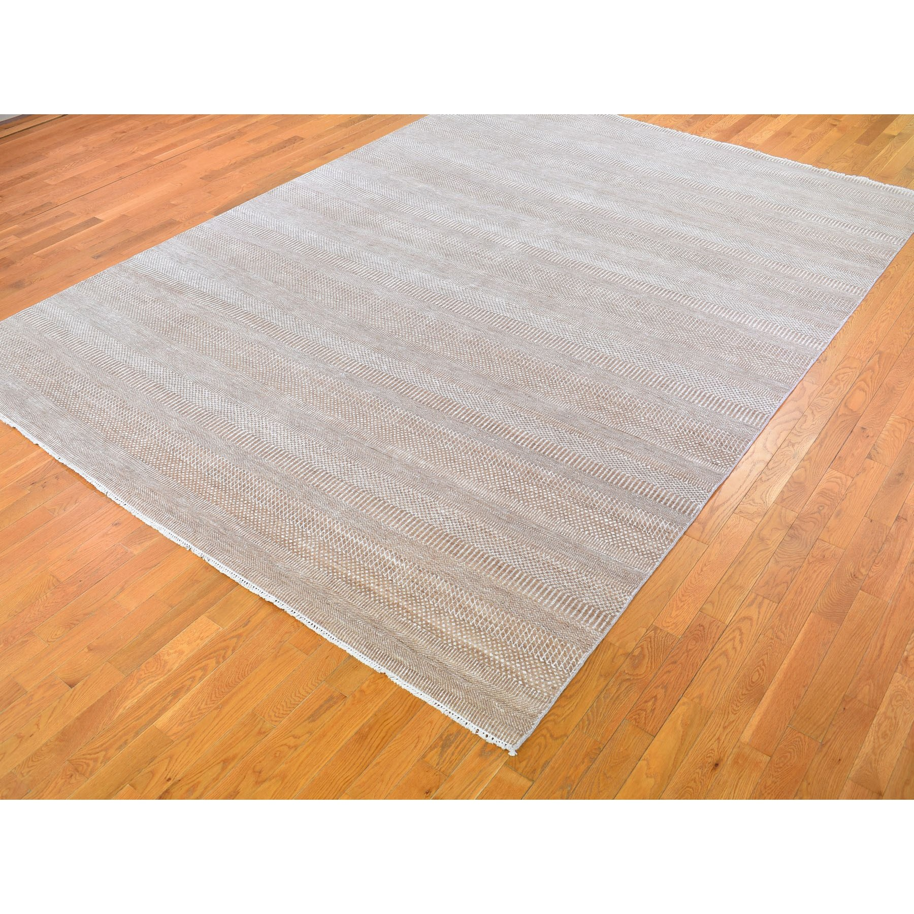 9-x12-6  Brown Grass Design Wool And Silk Hand Knotted Oriental Rug
