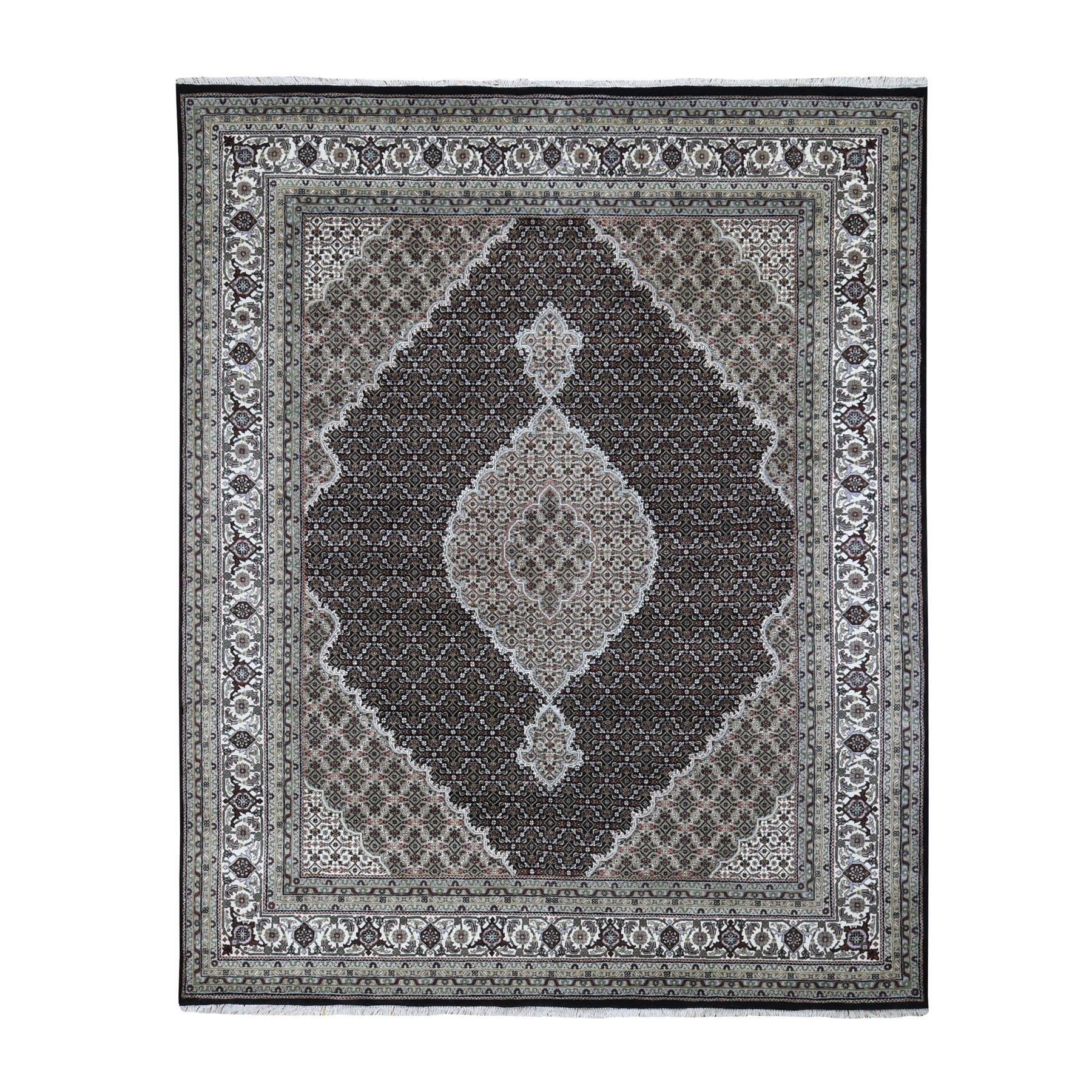 "8'1""X9'10"" Black Tabriz Mahi Fish Design Wool And Silk Hand Knotted Oriental Rug moad96b8"