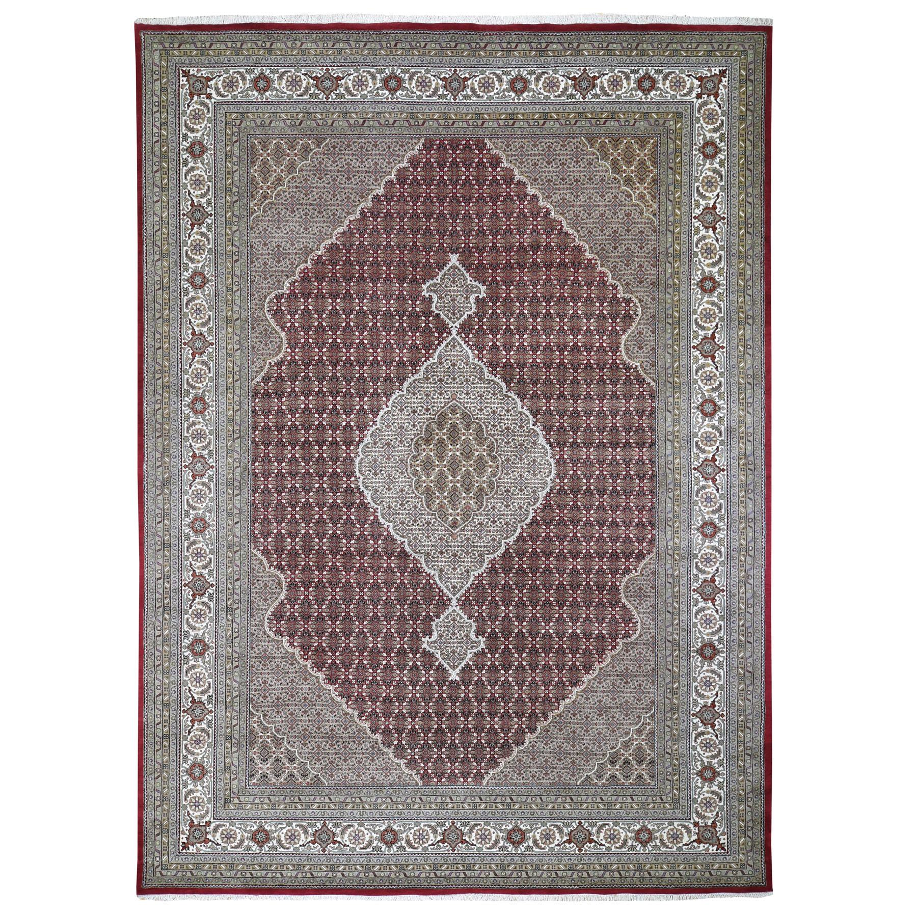 "10'X14'2"" Red Tabriz Mahi Fish Design Wool And Silk Hand Knotted Oriental Rug moad96ca"