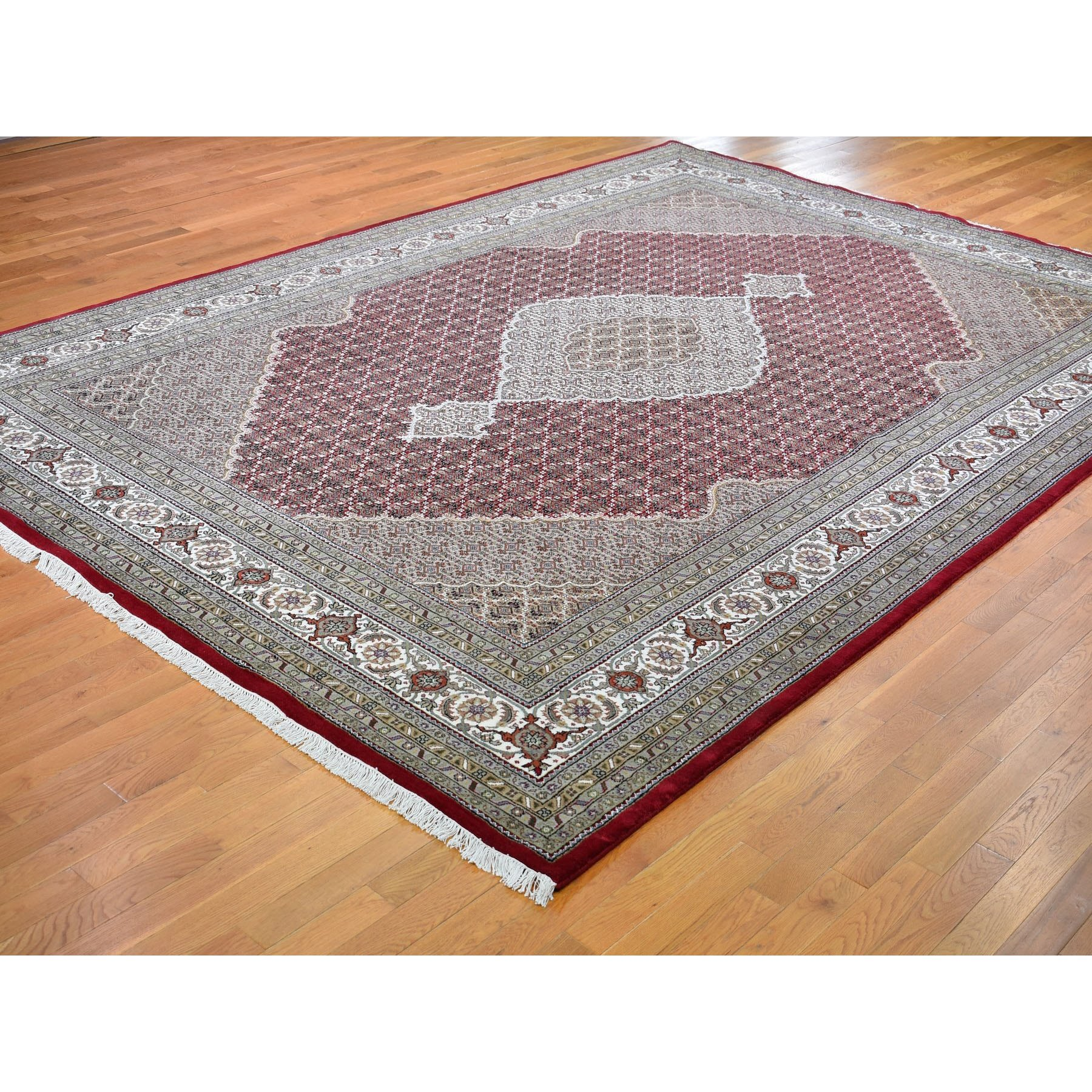 10-x14-2  Red Tabriz Mahi Fish Design Wool and Silk Hand Knotted Oriental Rug