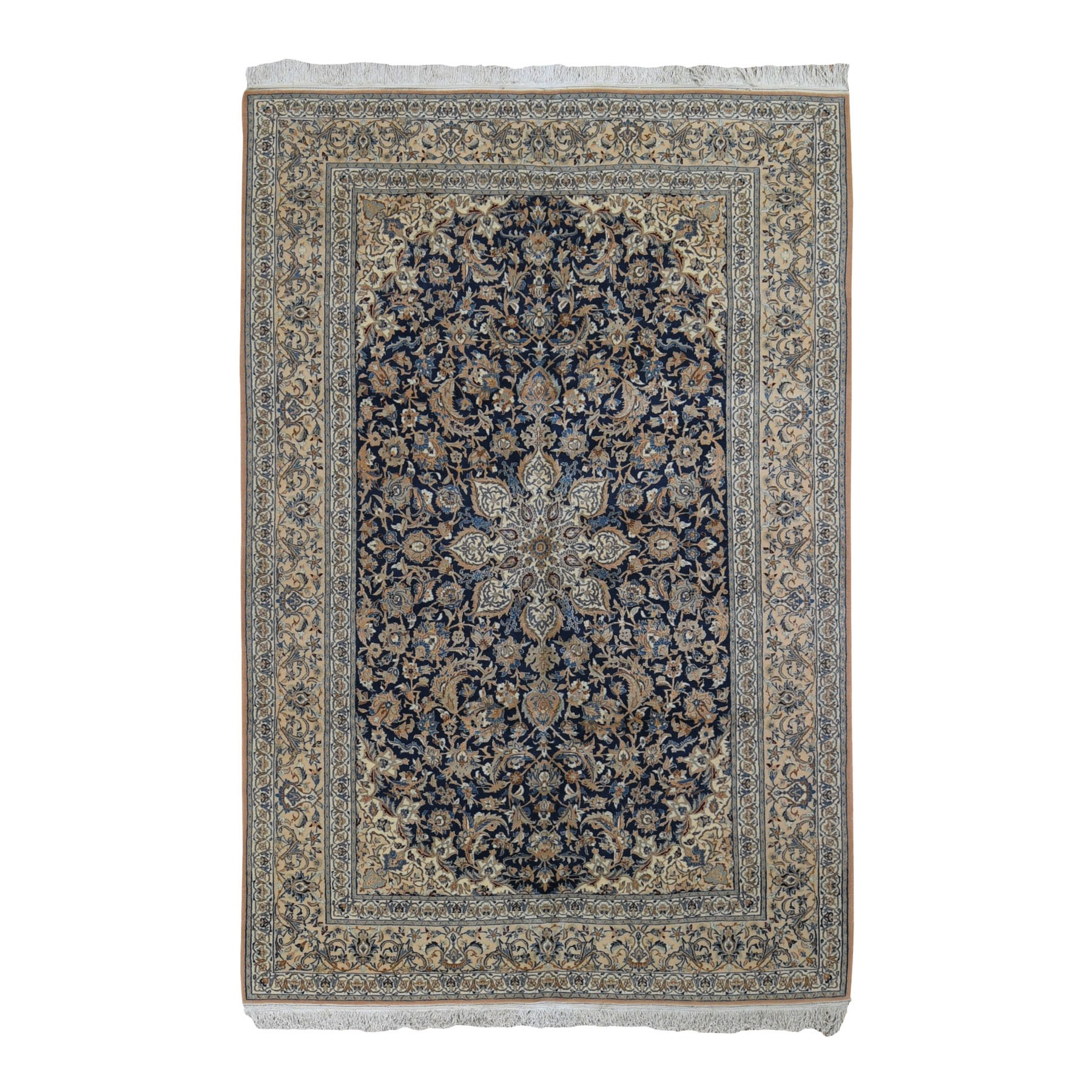 "5'9""X9'1"" Unused Navy Blue Vintage Persian Nain Wool And Silk Hand Knotted Oriental Rug moad96c7"