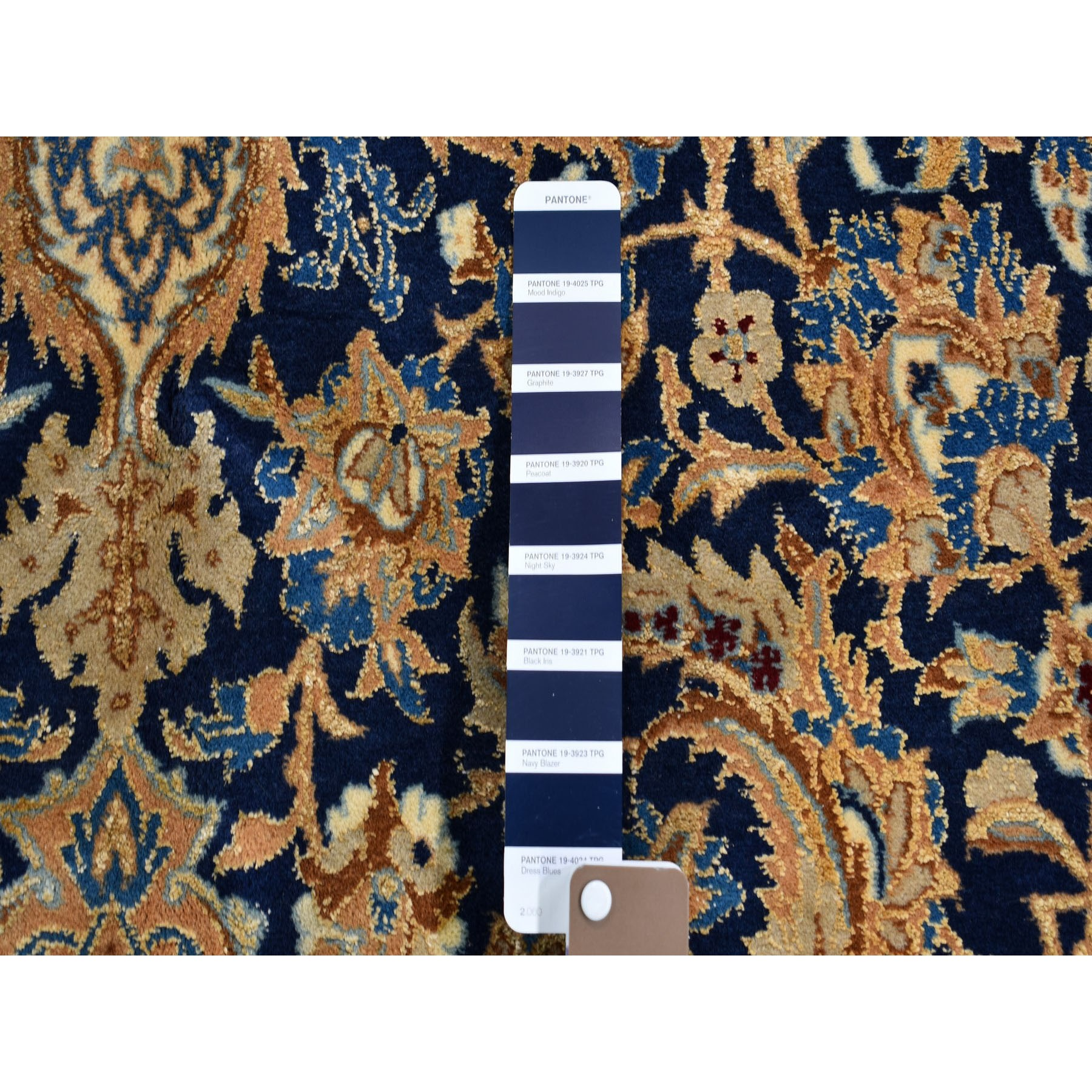 5-9 x9-1  Unused Condition Navy Blue Vintage Persian Nain Wool And Silk Hand Knotted Oriental Rug