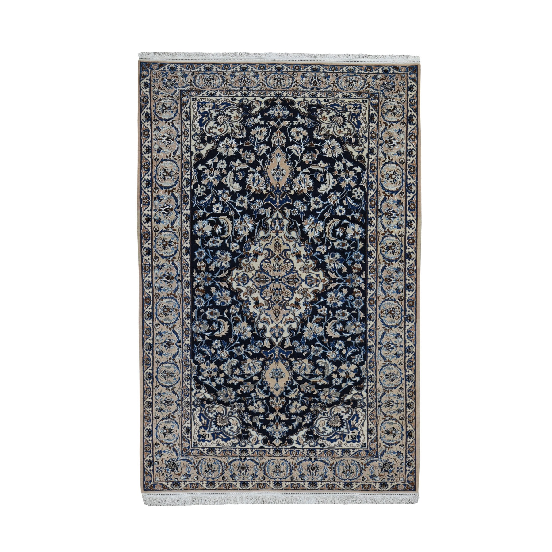 "4'2""X6'10""  Navy Blue New Persian Nain Wool And Silk 400 Kpsi Hand Knotted Oriental Rug moad96c8"