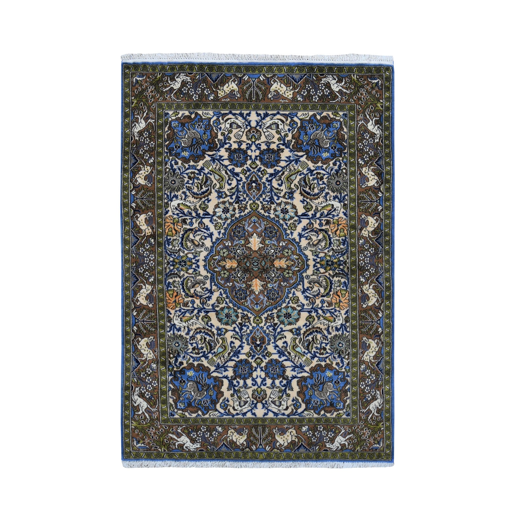 """3'4""""X5'4"""" Beige New Persian Qum Leaping Deer And Birds Wool And Silk Hand Knotted Fine Oriental Rug moad96c9"""
