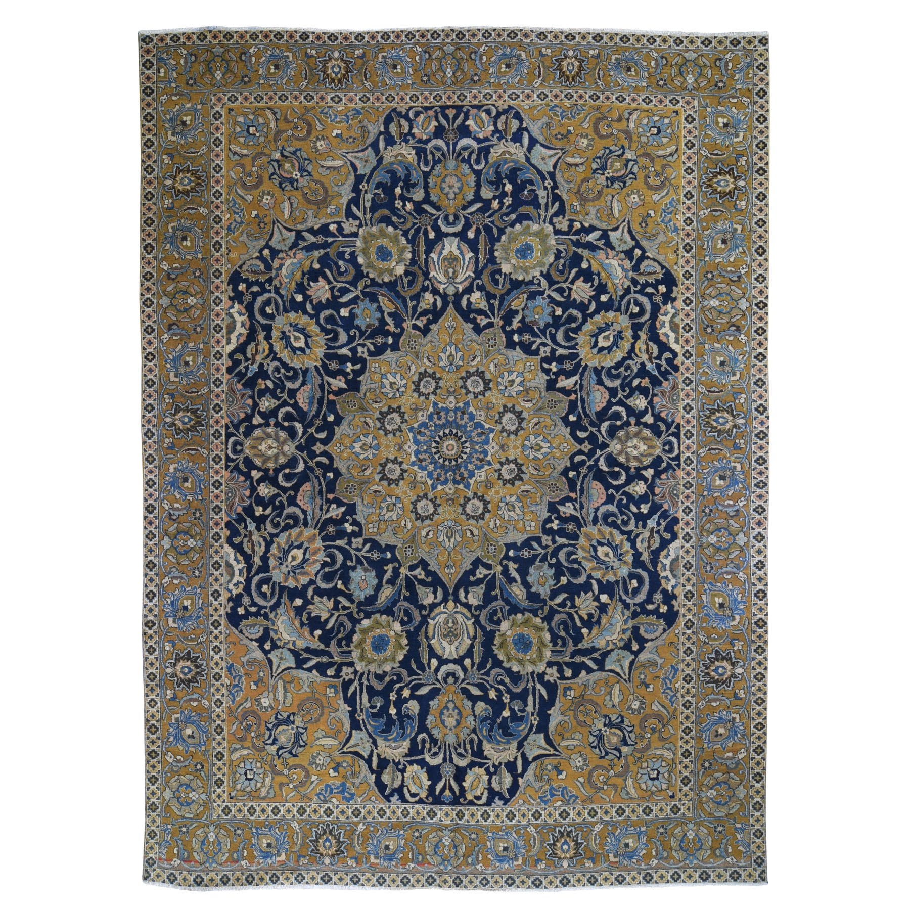"9'3""X12'8"" Navy And Gold Antique Persian Tabriz Pure Wool Hand Knotted Oriental Rug moad96da"