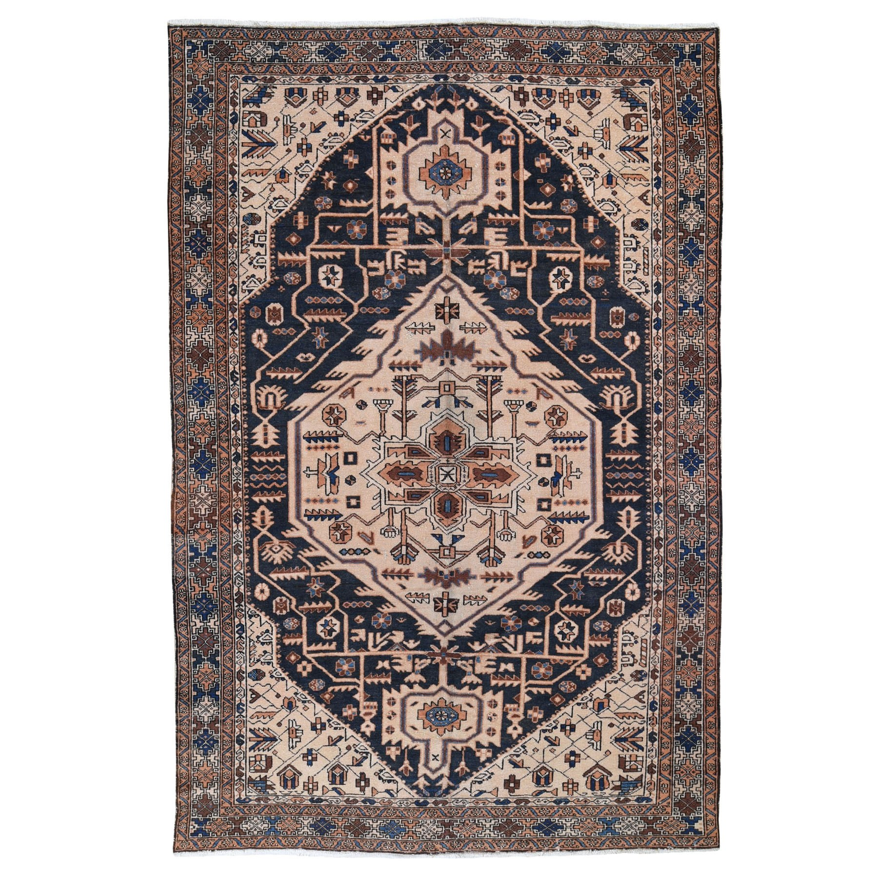 "7'3""x11'5"" Black Vintage Persian Mishkin Exc Cond Pure wool hand Knotted Oriental Rug"