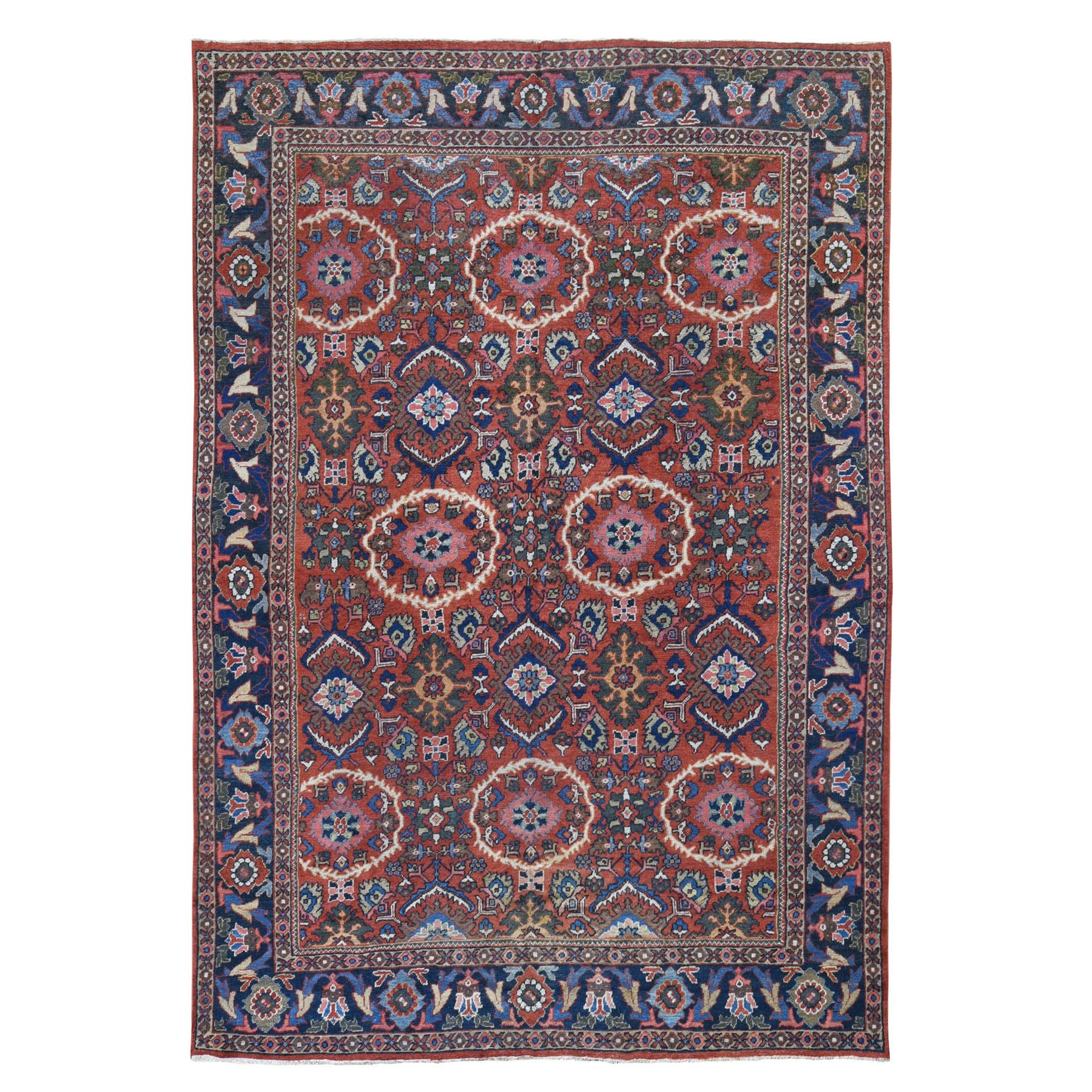 """7'8""""x11' Rust Antique Persian Mahal Ever Wear All Over Design Pure Wool Oriental Rug"""