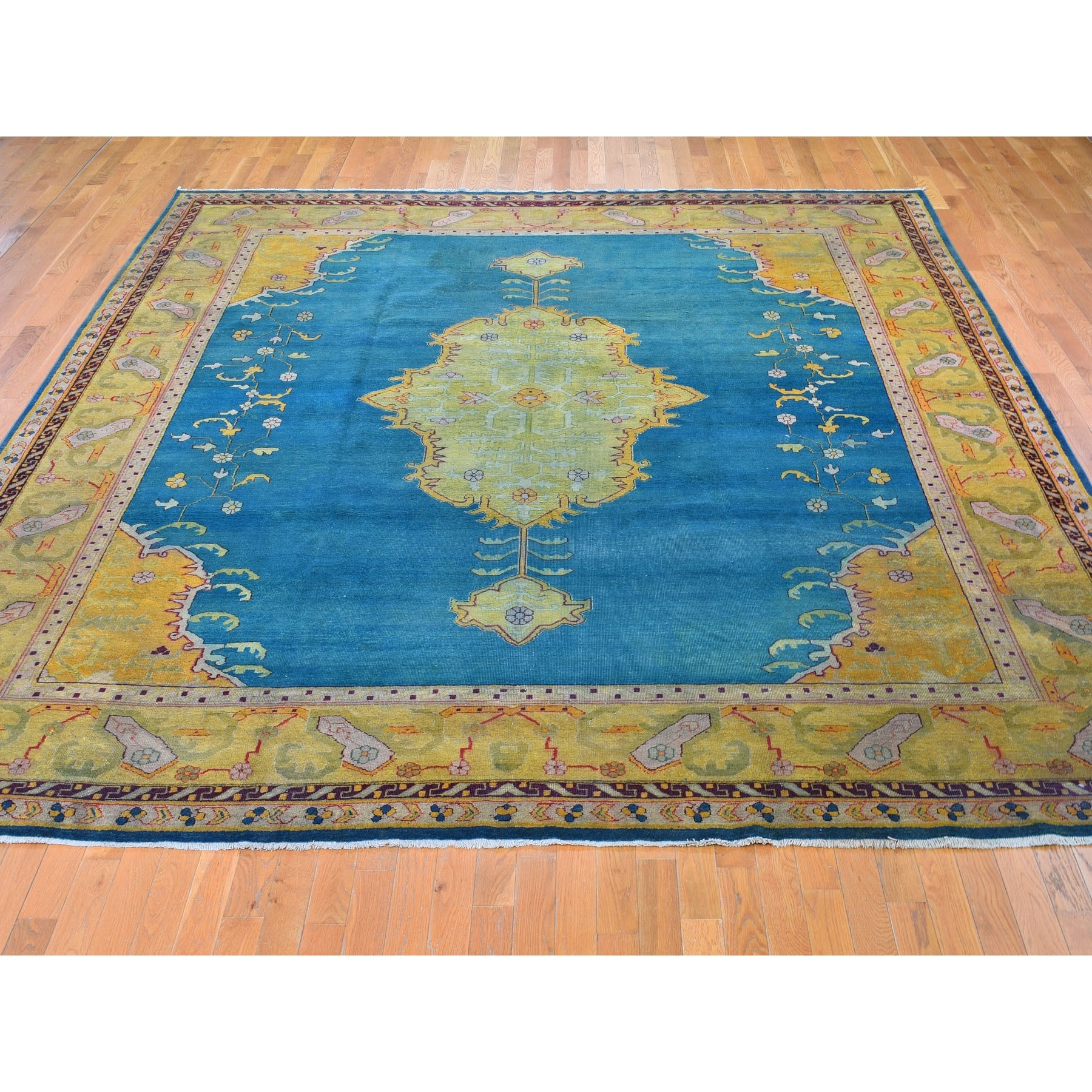 "11'x12'6"" Teal Antique Agra With Medallion Open Field Clean Good Cond Hand Knotted Oriental Rug"