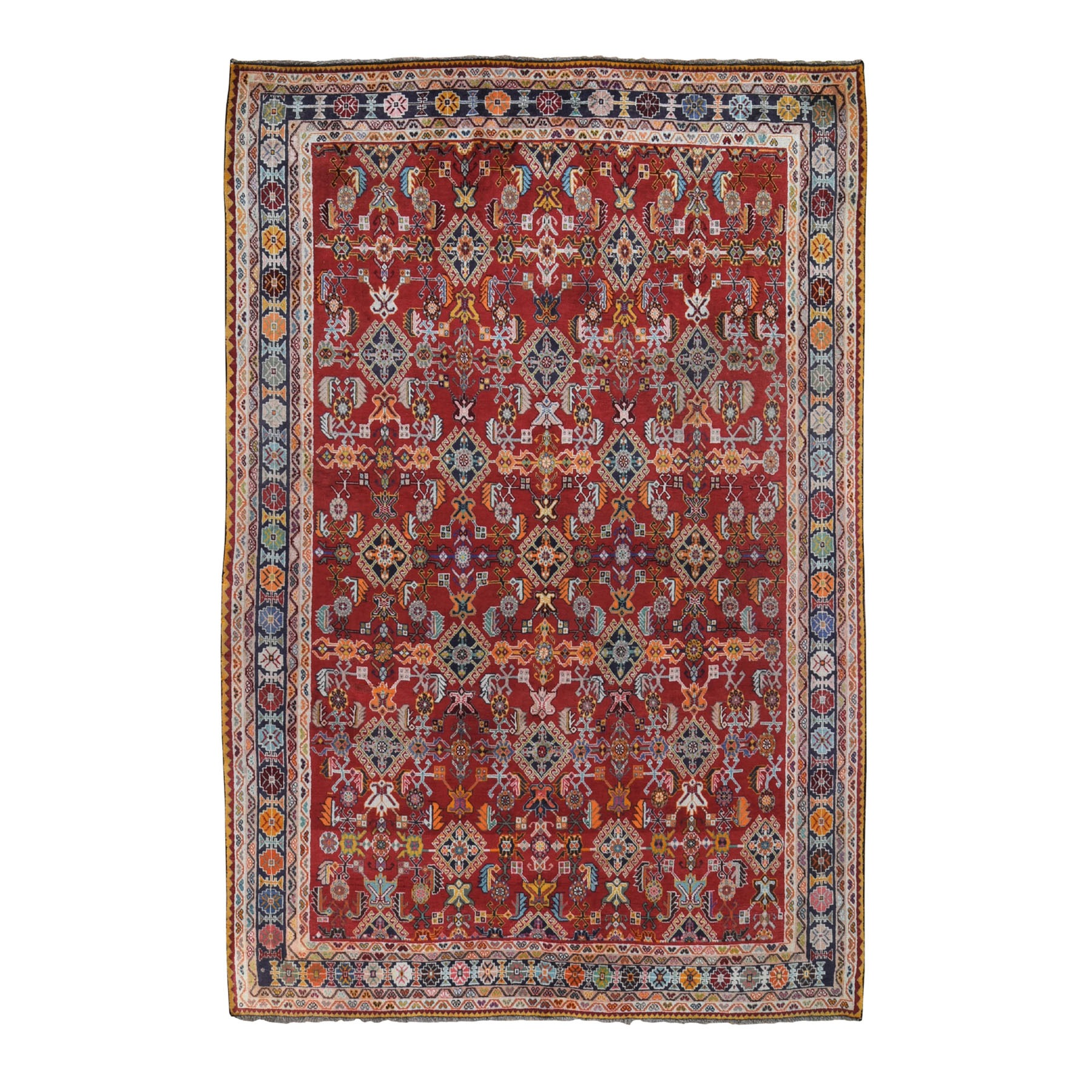 """6'9""""X10' Red Vintage Persian Shiraz Exc Cond Full Pile Pure Wool Hand Knotted Oriental Rug moad96d9"""