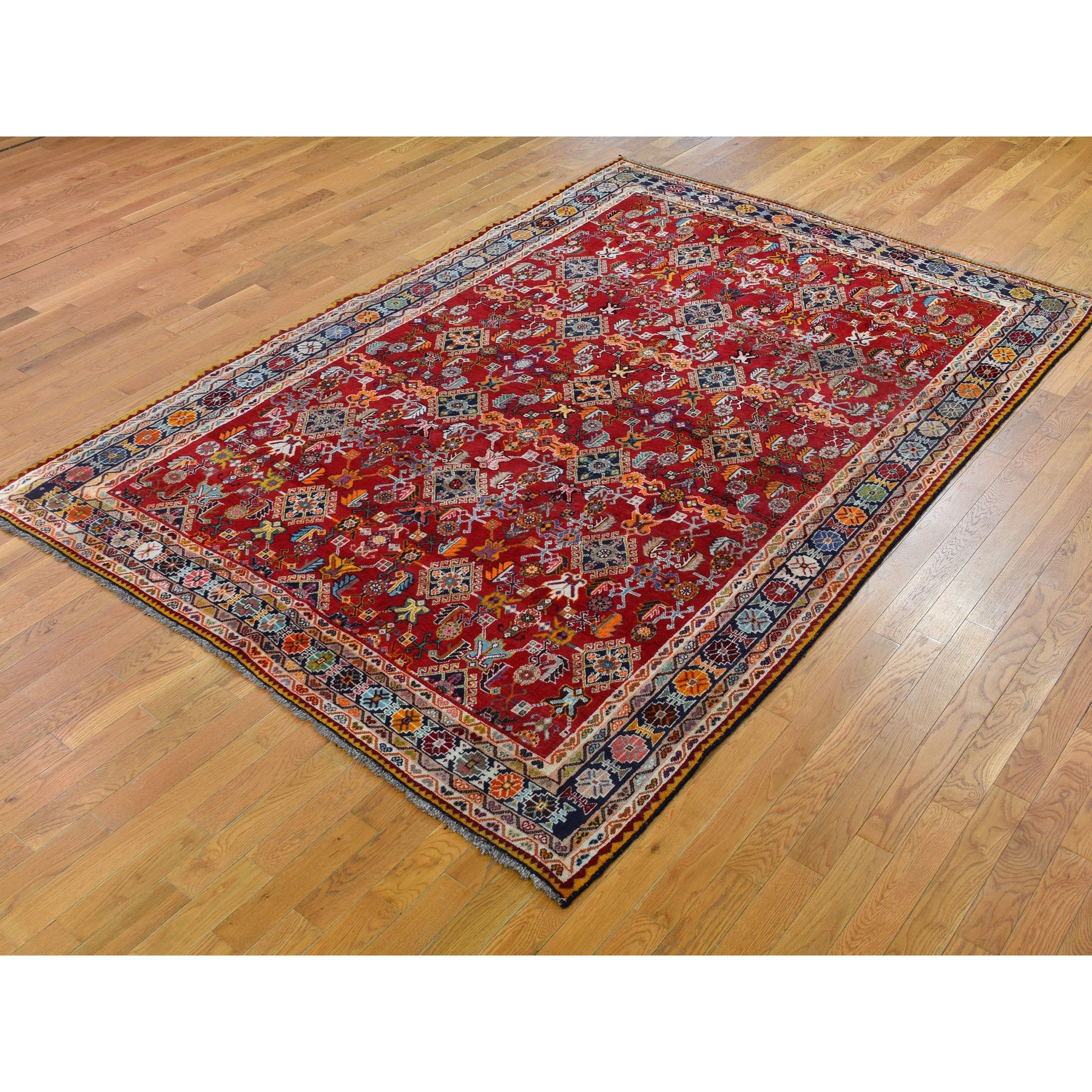 """6'9""""x10' Red Vintage Persian Shiraz Exc Cond Full Pile Pure Wool Hand Knotted Oriental Rug"""