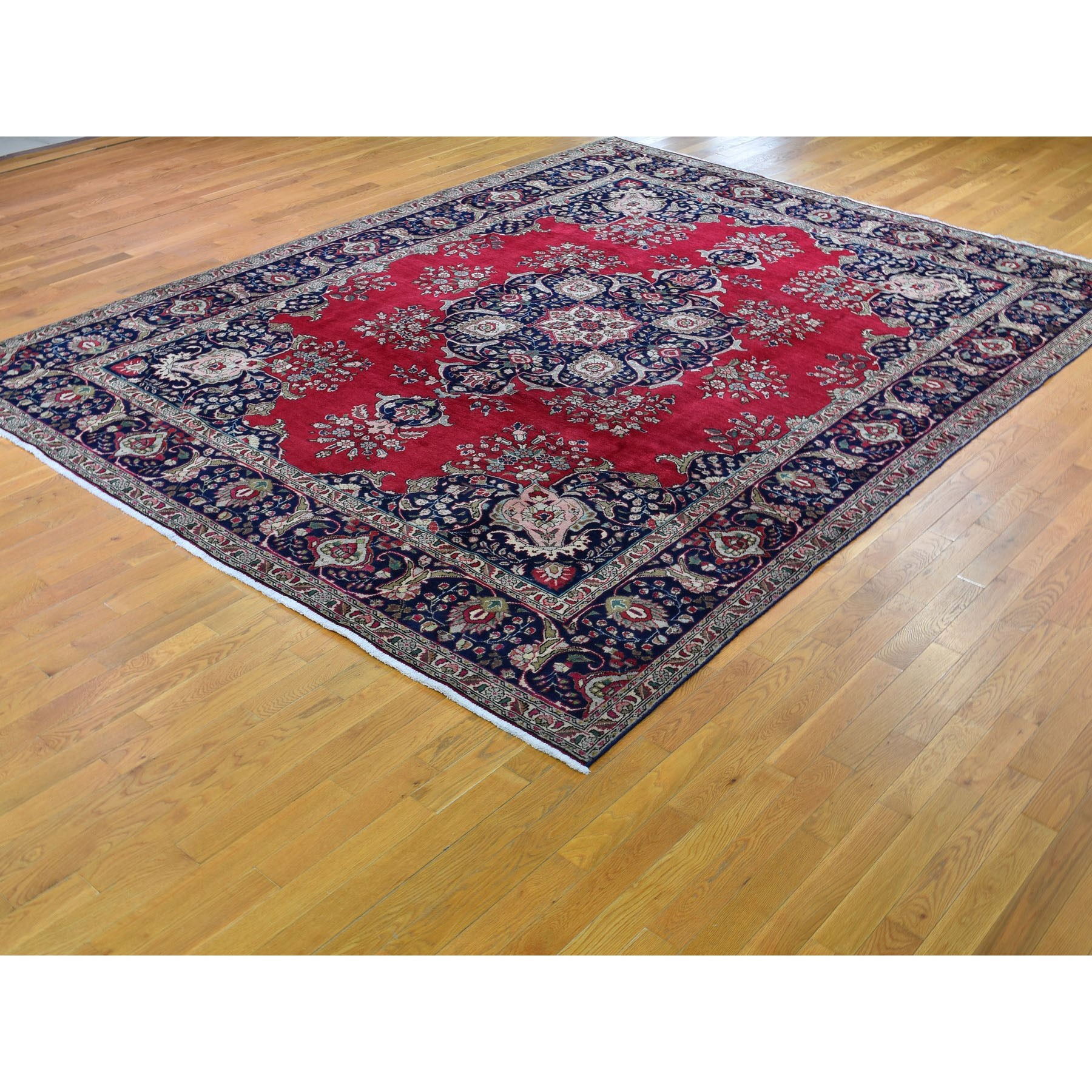 """9'7""""x12'9"""" Red Vintage Persian Tabriz Open Field With Medallion Hand Knotted Oriental Rug"""