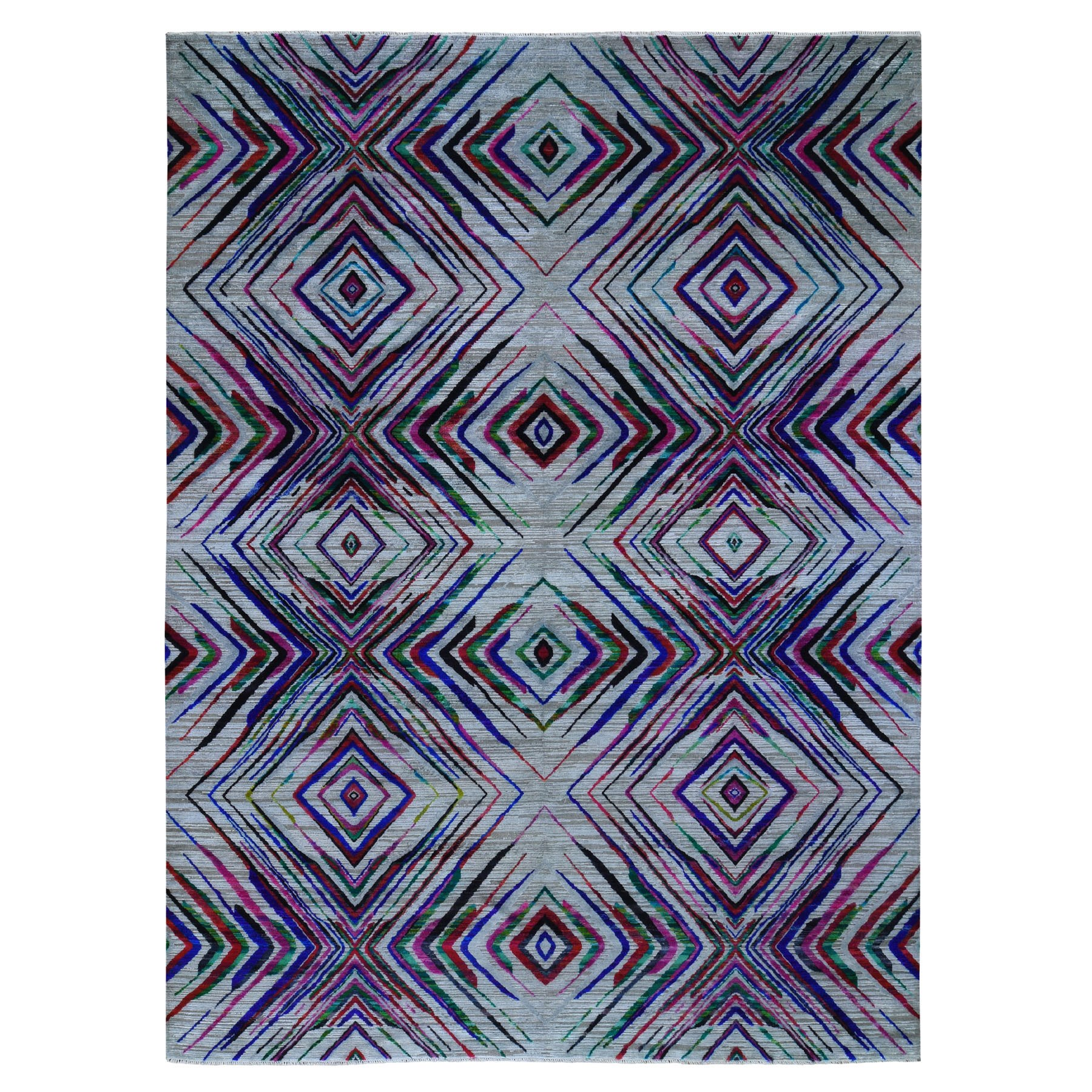 """9'X12'2"""" Sari Silk With Textured Wool Colorful Geometric Design Hand Knotted Oriental Rug moad96ea"""