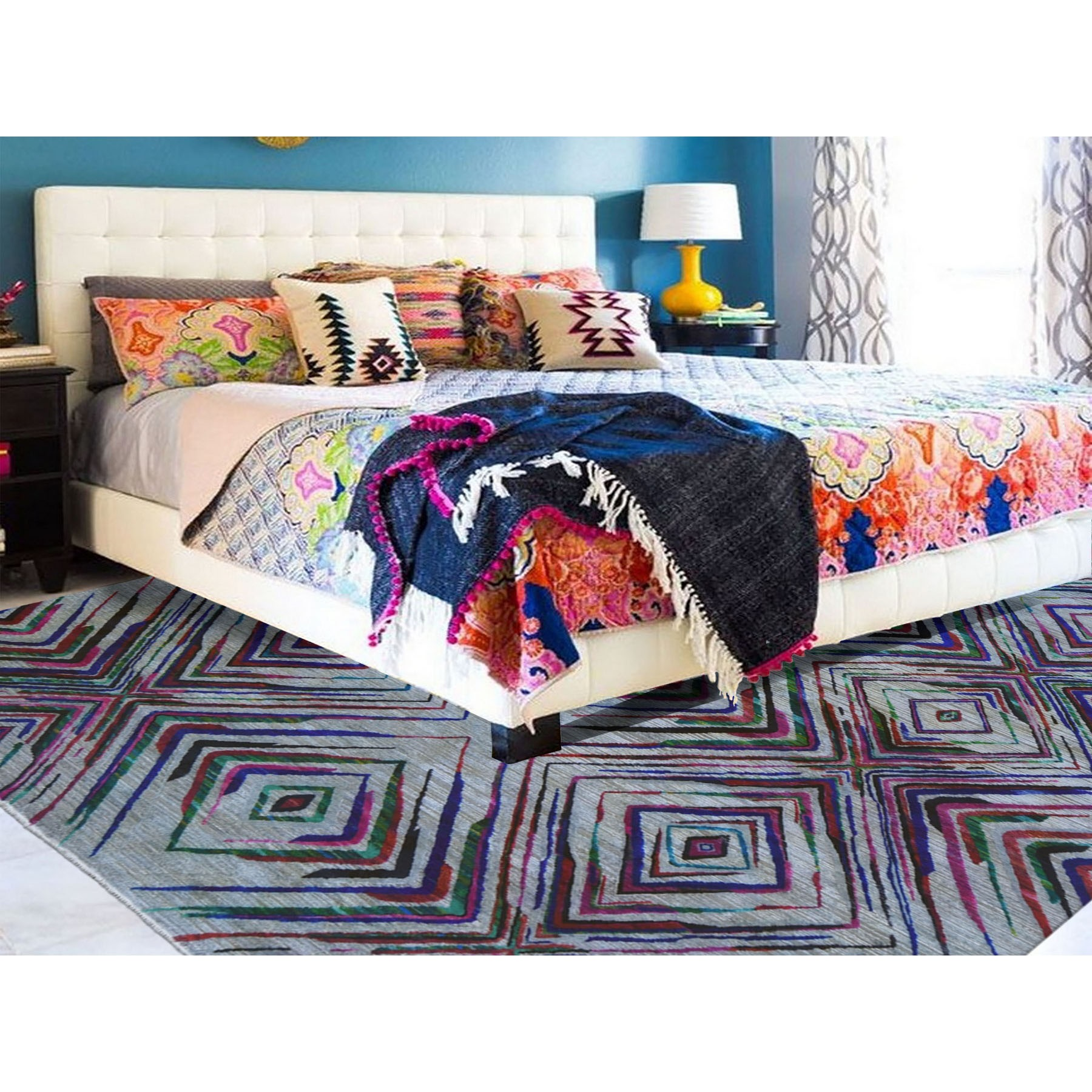 """9'x12'2"""" Sari Silk With Textured Wool Colorful Geometric Design Hand Knotted Oriental Rug"""