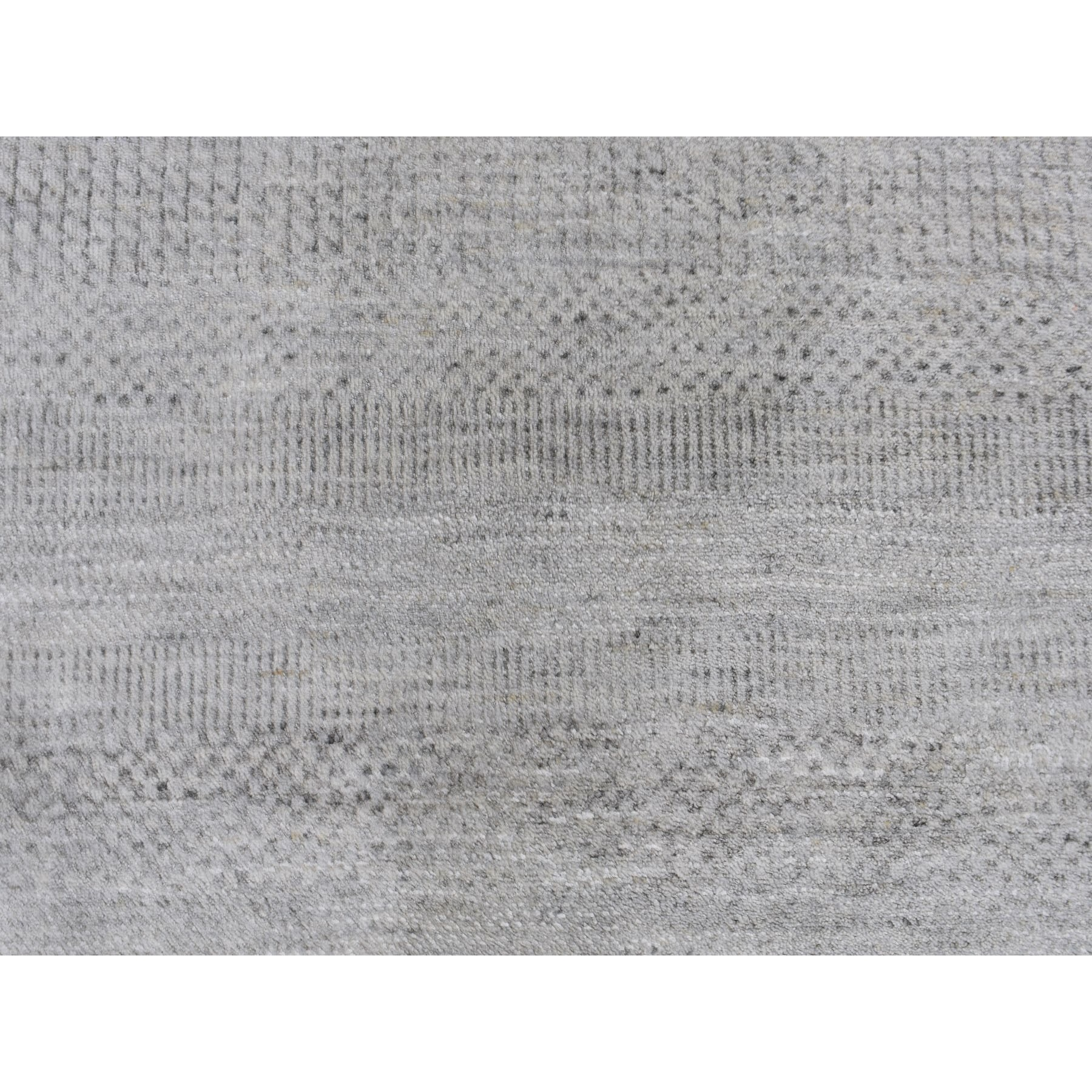 12-1 x15-4  Gray Grass Design Wool And Silk Hand Knotted Oriental Rug
