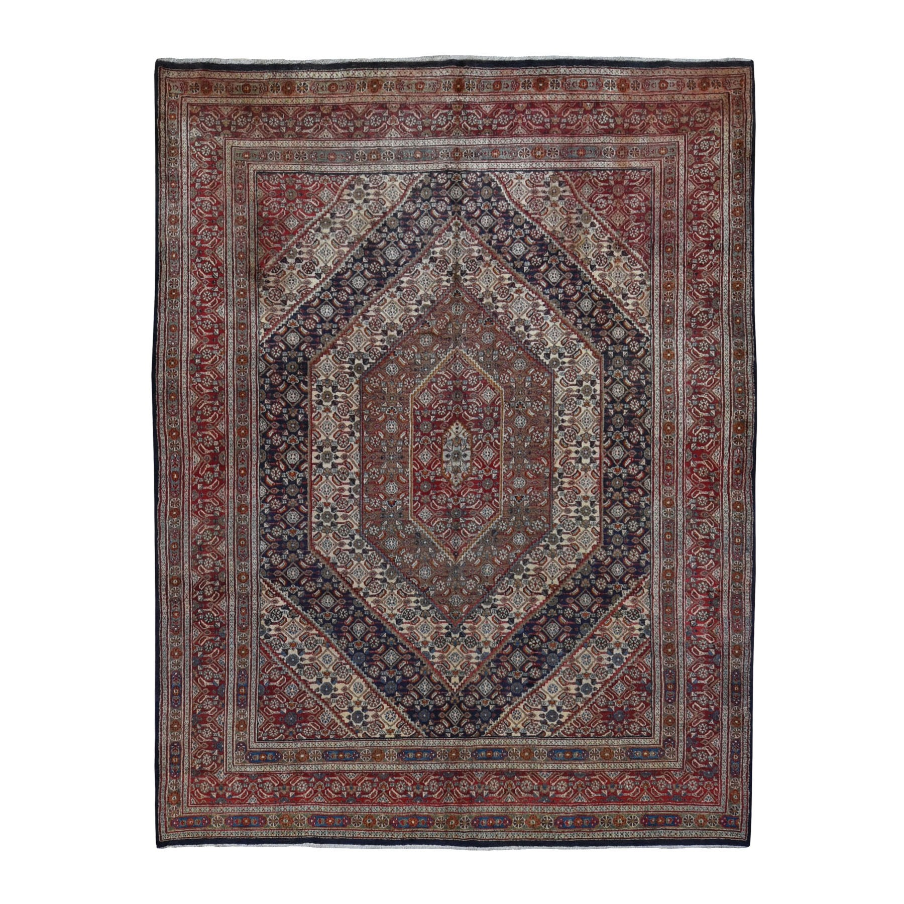 "7'9""x10'10"" Red Persian Moud With Geometric Design Pure Wool Hand Knotted Oriental Rug"