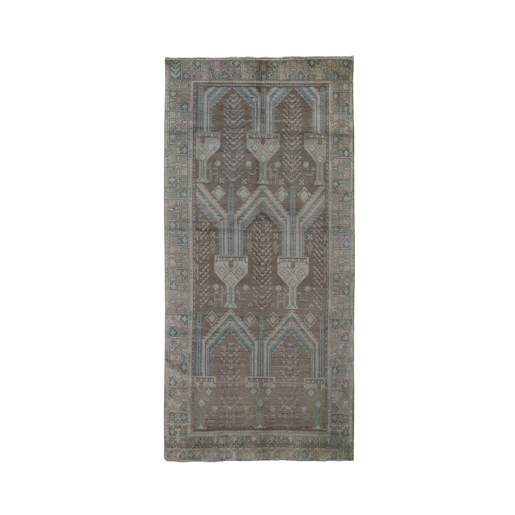 "4'1""x9'2"" Washed Out Afghan Baluch With Natural Colors Pure Wool Wide Runner Hand Knotted Oriental Rug"
