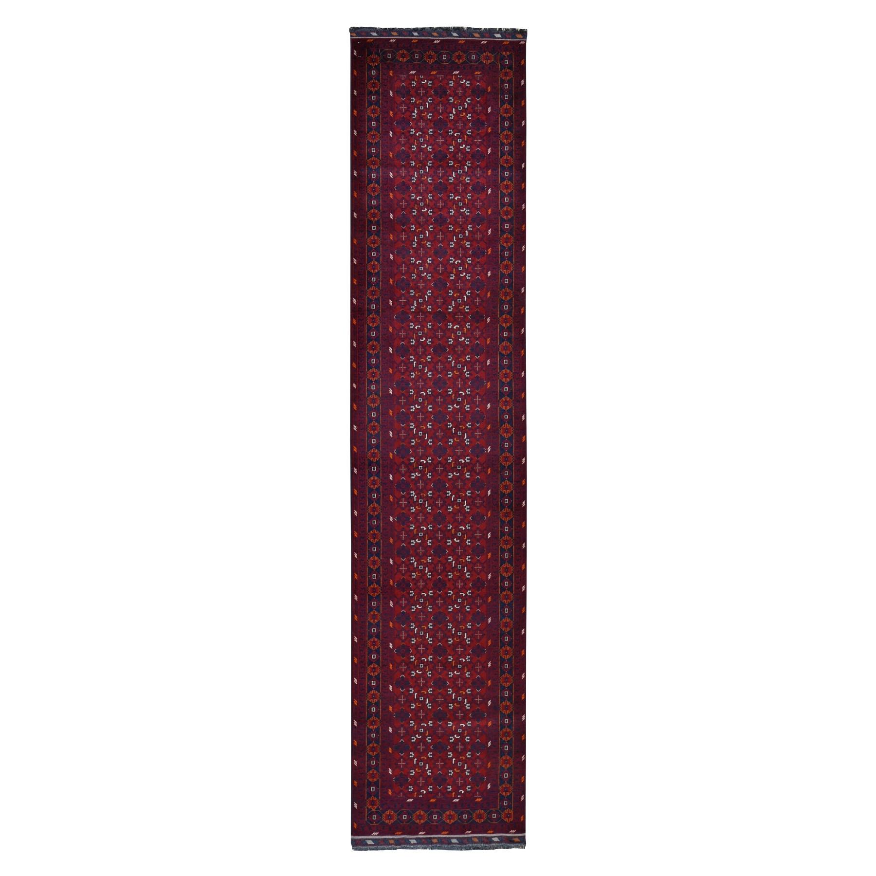 "2'9""x12'9"" Afghan Khamyab Silky Wool Runner Hand Knotted Oriental Rug"