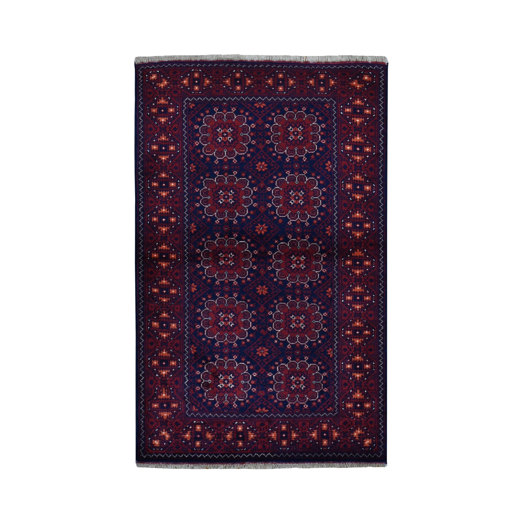 "3'2""x5'2"" Afghan Khamyab Dense Weave Silky Wool Hand Knotted Oriental Rug"
