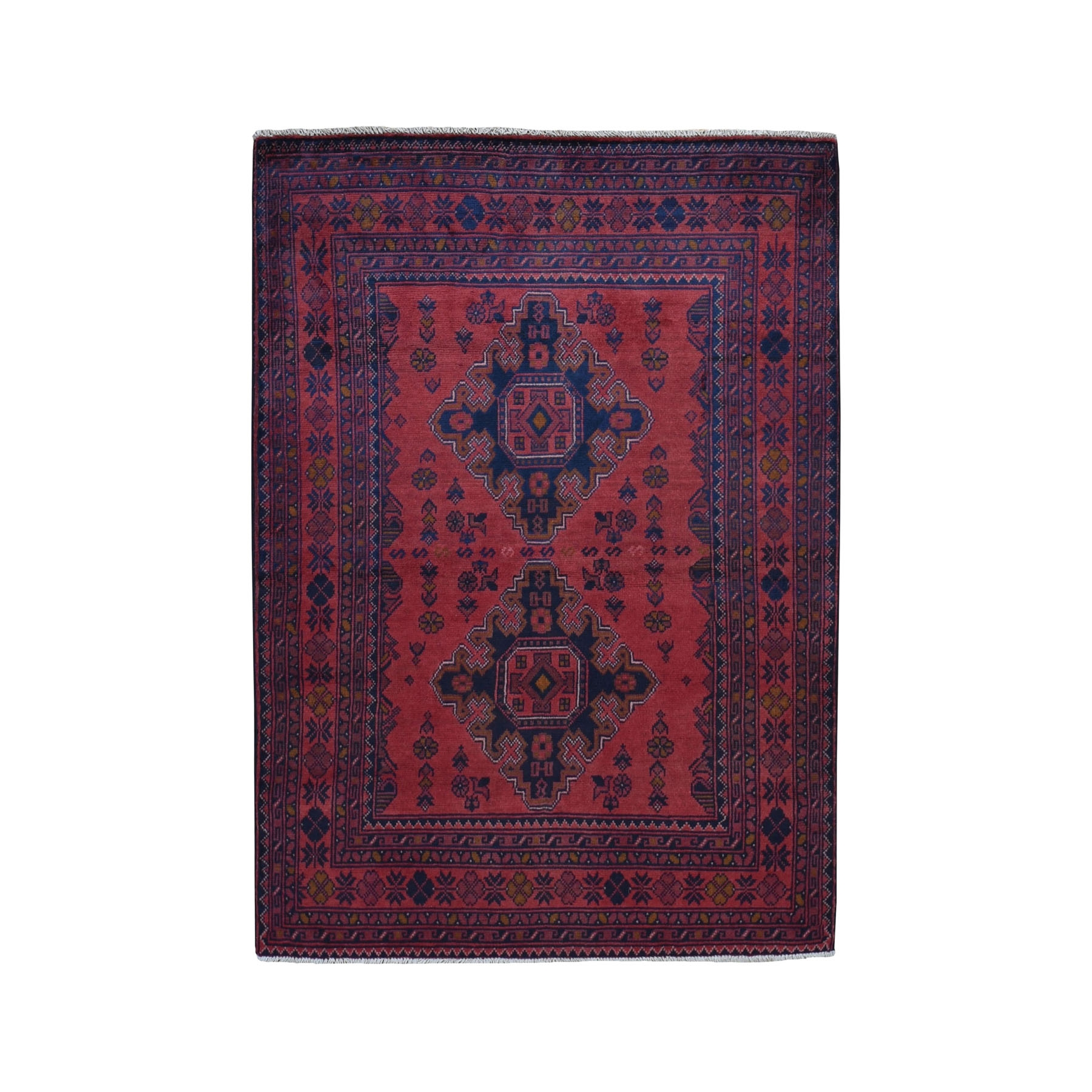 """3'4""""x4'9"""" Deep and Saturated Red Tribal Afghan Andkhoy Pure Wool Hand Knotted Oriental Rug"""