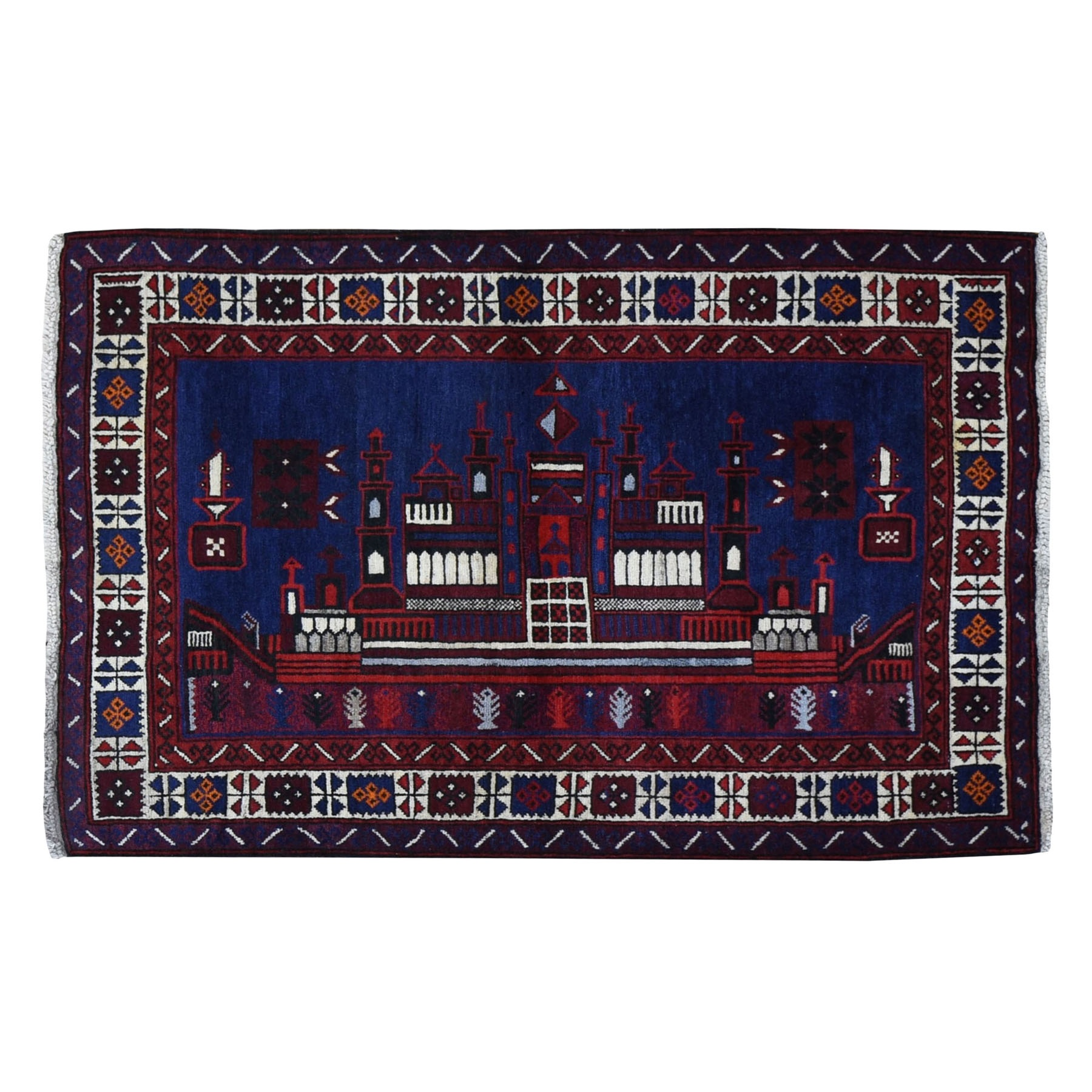 """3'x4'6"""" Navy Blue Pictorial Baluch With Palace Design Hand Knotted Oriental Rug"""