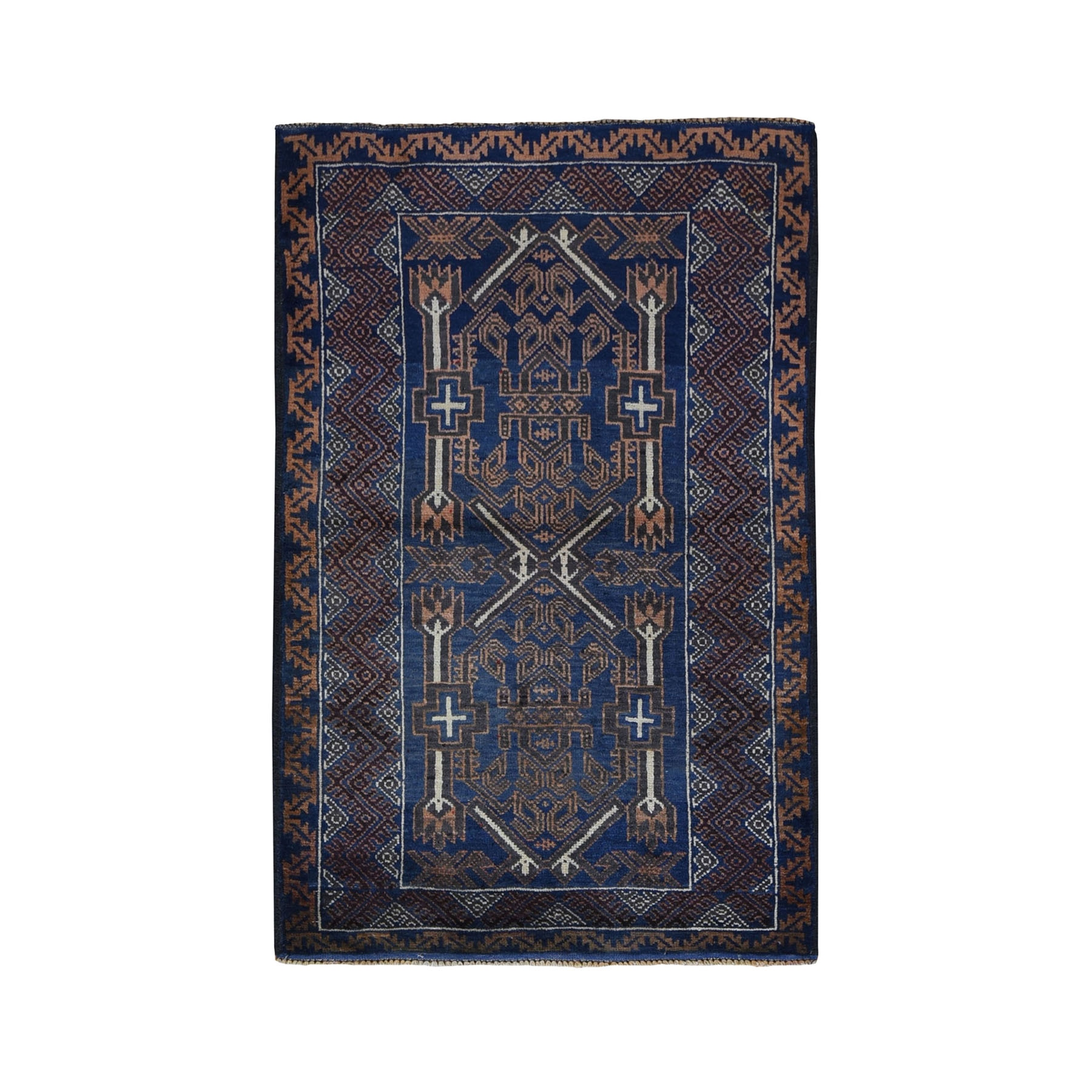 """3'x4'7"""" Afghan Baluch Geometric Design Pure Wool Hand Knotted Oriental Rug"""