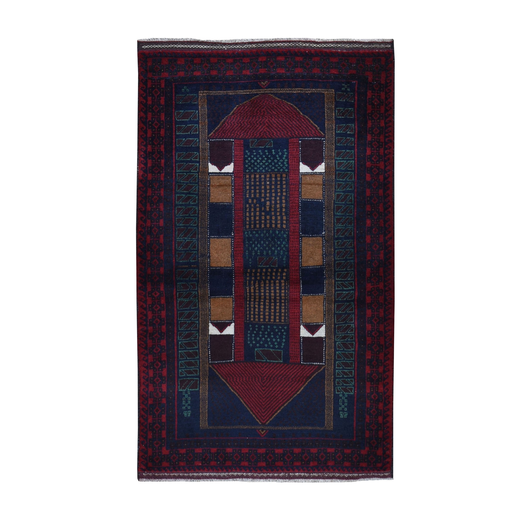 "3'X5'4""  Afghan Baluch Geometric Design Pure Wool Hand Knotted Oriental Rug moad967e"