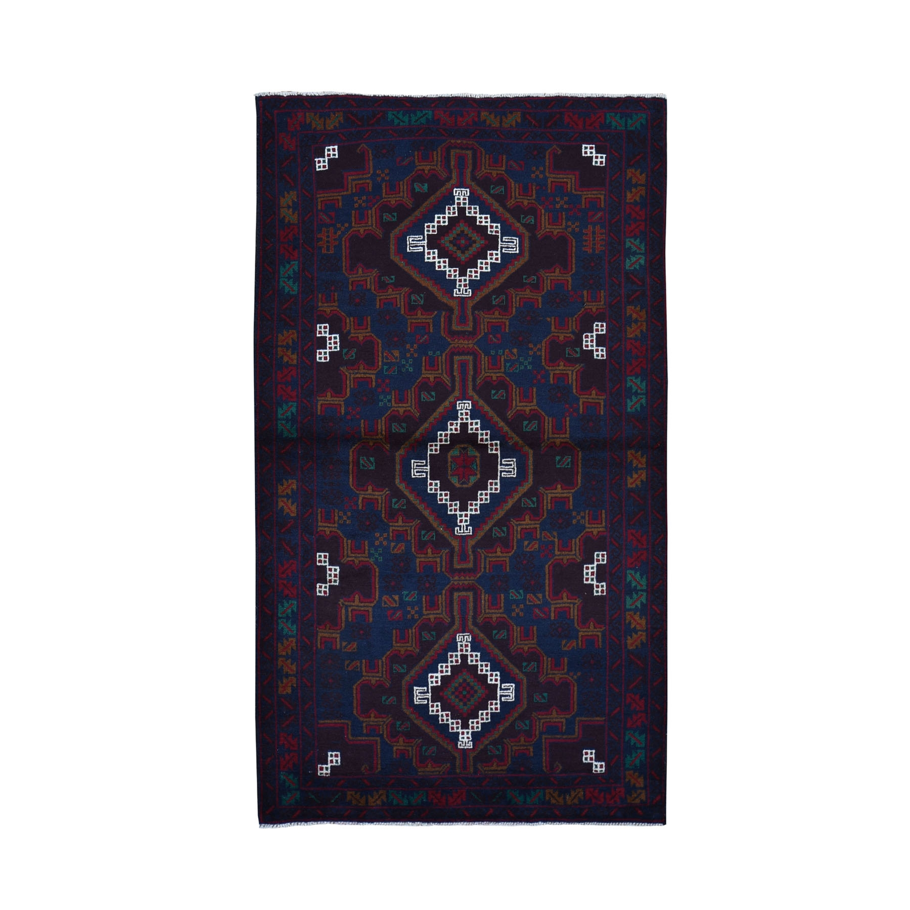 "3'8""X6'6"" Afghan Baluch Geometric Design Pure Wool Hand Knotted Oriental Rug moad9677"