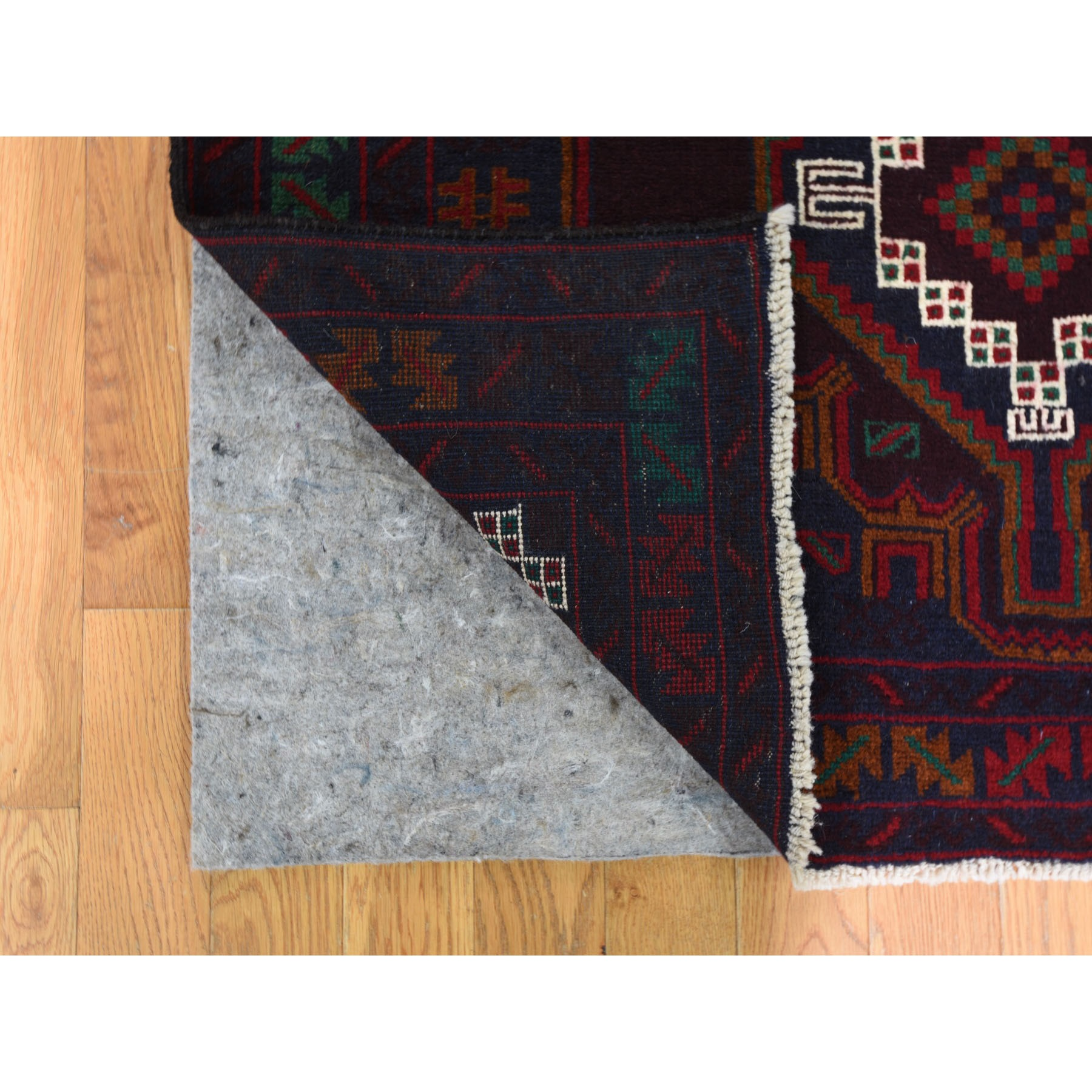 3-8 x6-6  Afghan Baluch Geometric Design Pure Wool Hand Knotted Oriental Rug