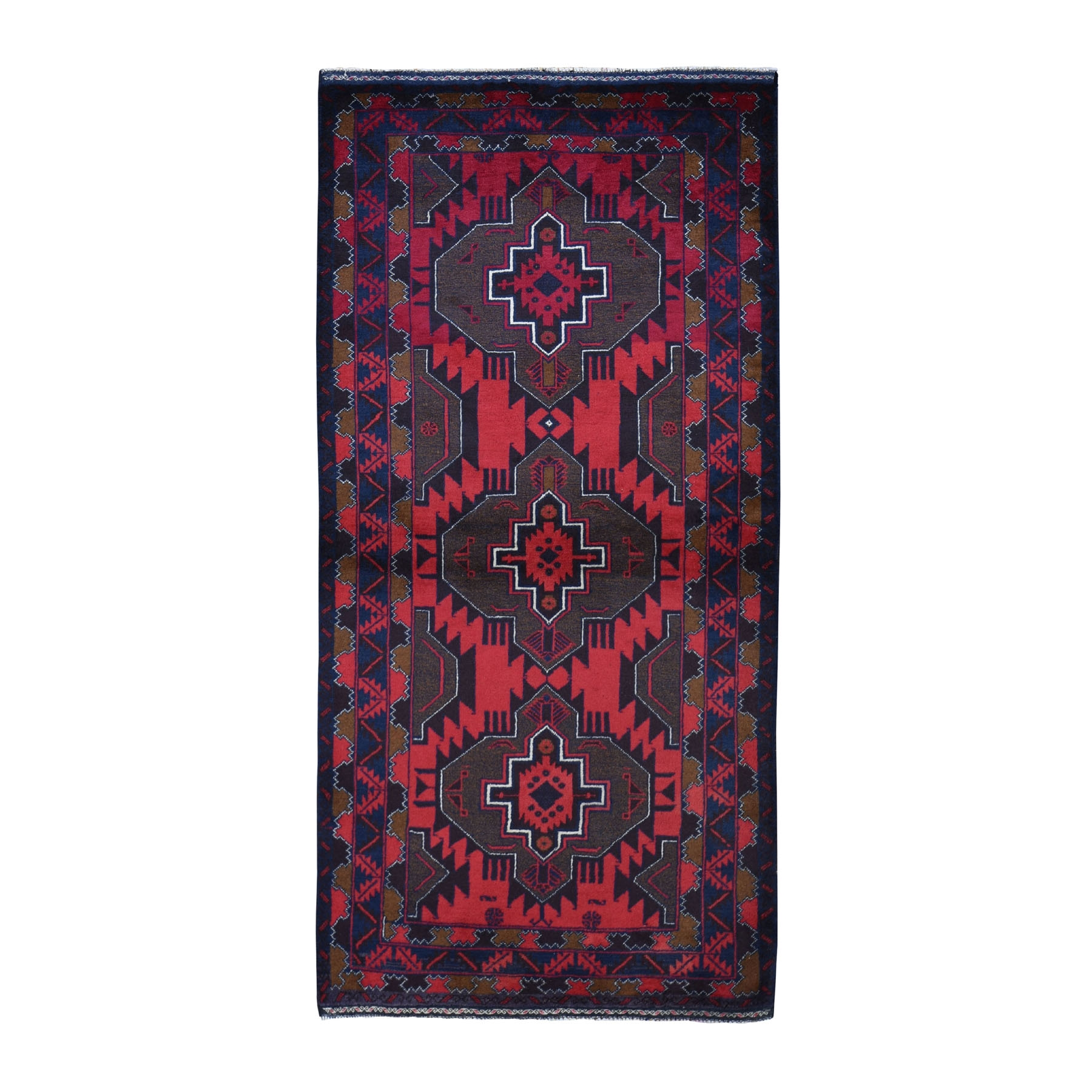 "3'6""X7'1""  Afghan Baluch Geometric Design Pure Wool Wide Runner Hand Knotted Oriental Rug moad9678"