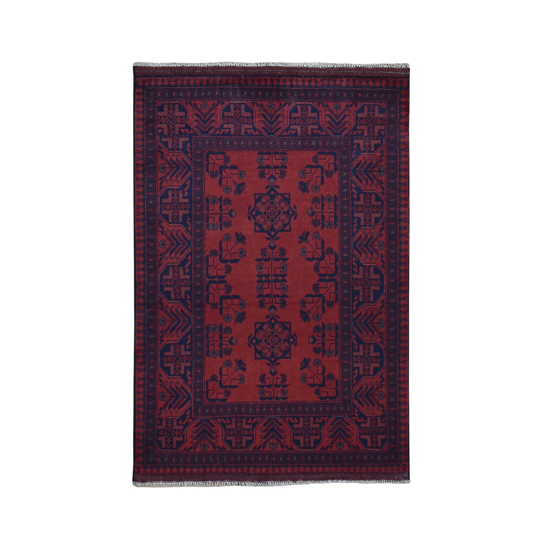 "3'4""X4'10"" Deep And Saturated Red Tribal Afghan Andkhoy Pure Wool Hand Knotted Oriental Rug moad9679"