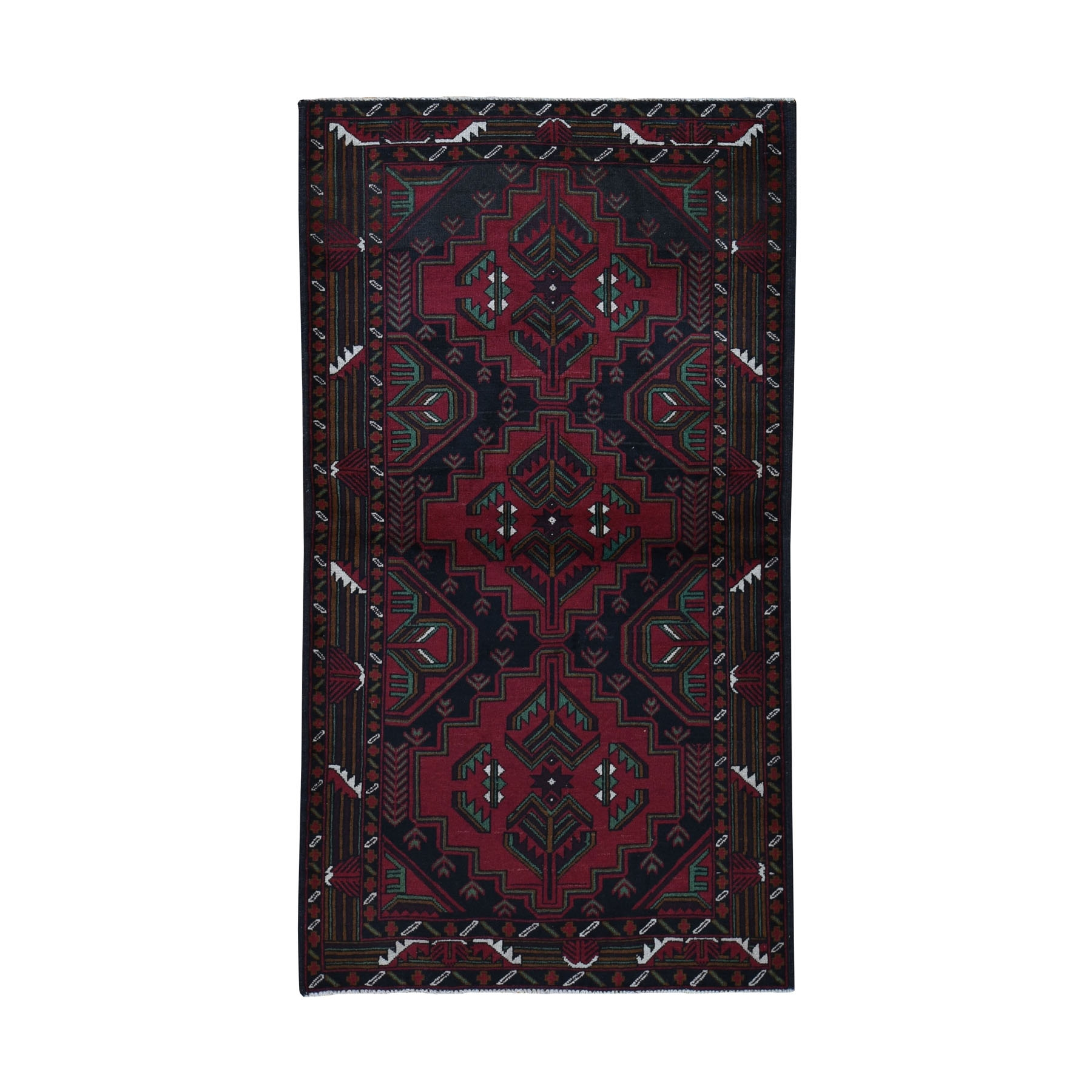 "3'6""X6'5"" Afghan Baluch Touch Of Green Geometric Design Pure Wool Hand Knotted Oriental Rug moad968a"