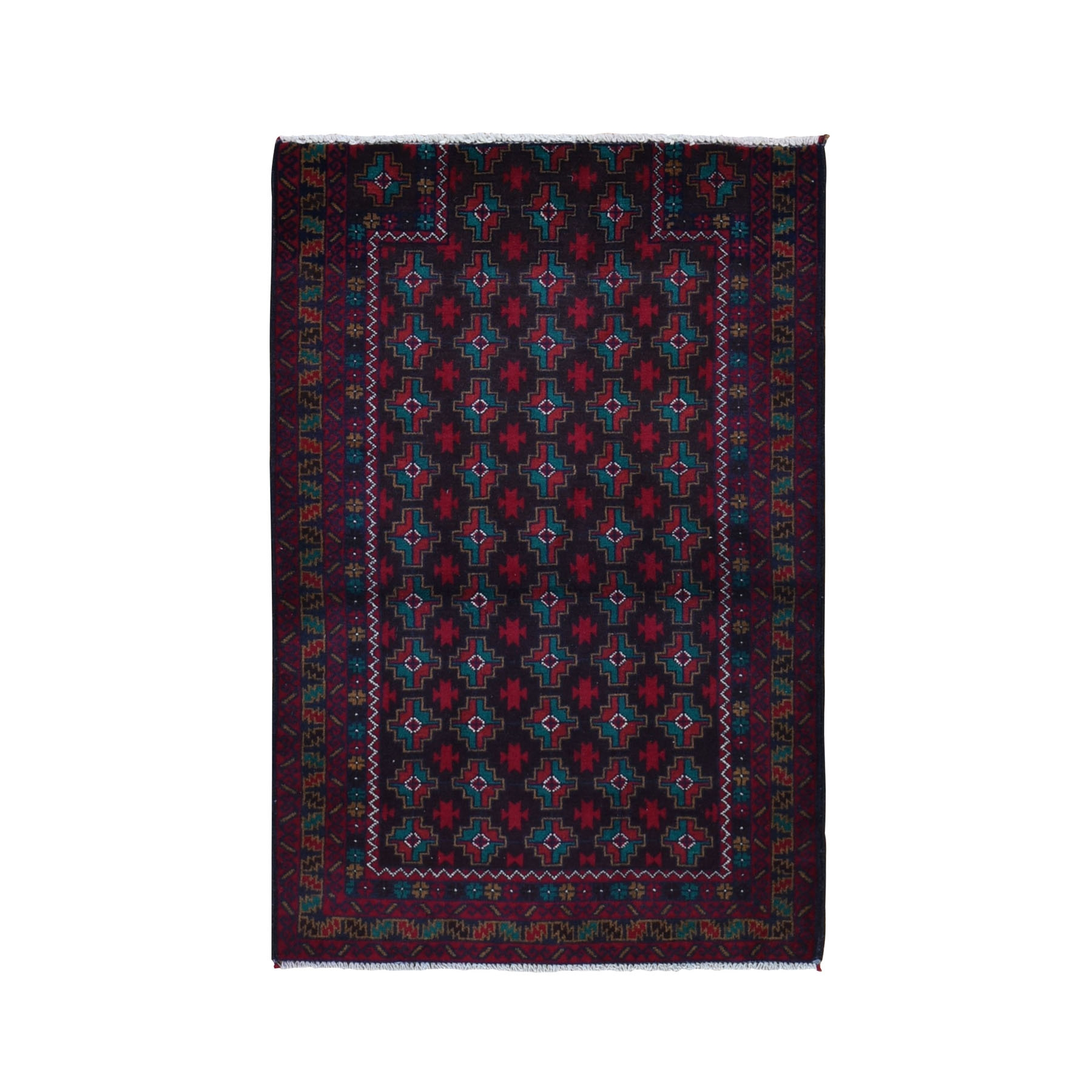 "2'10""X4'2"" Afghan Baluch Reduce Prayer Design Pure Wool Hand Knotted Oriental Rug moad968e"