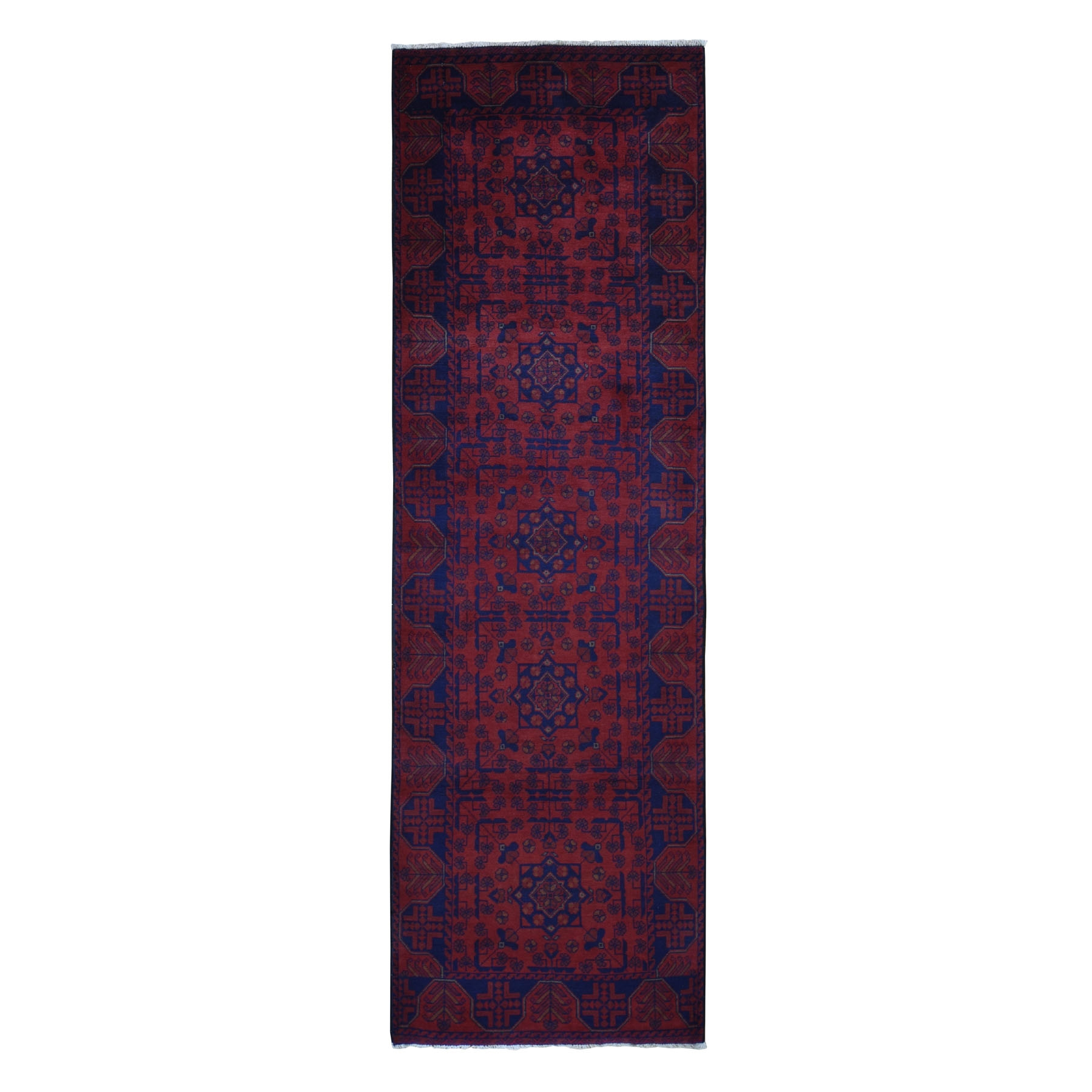 "2'7""X9'2"" Deep And Saturated Red Geometric Afghan Andkhoy Runner Pure Wool Hand Knotted Oriental Rug moad9686"