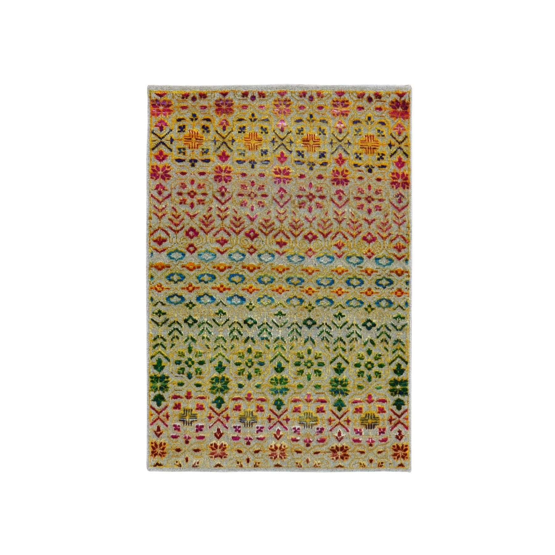 2'X3' Colorful Grass Design Sari Silk Textured Wool Modern Hand Knotted Oriental Rug moad9690
