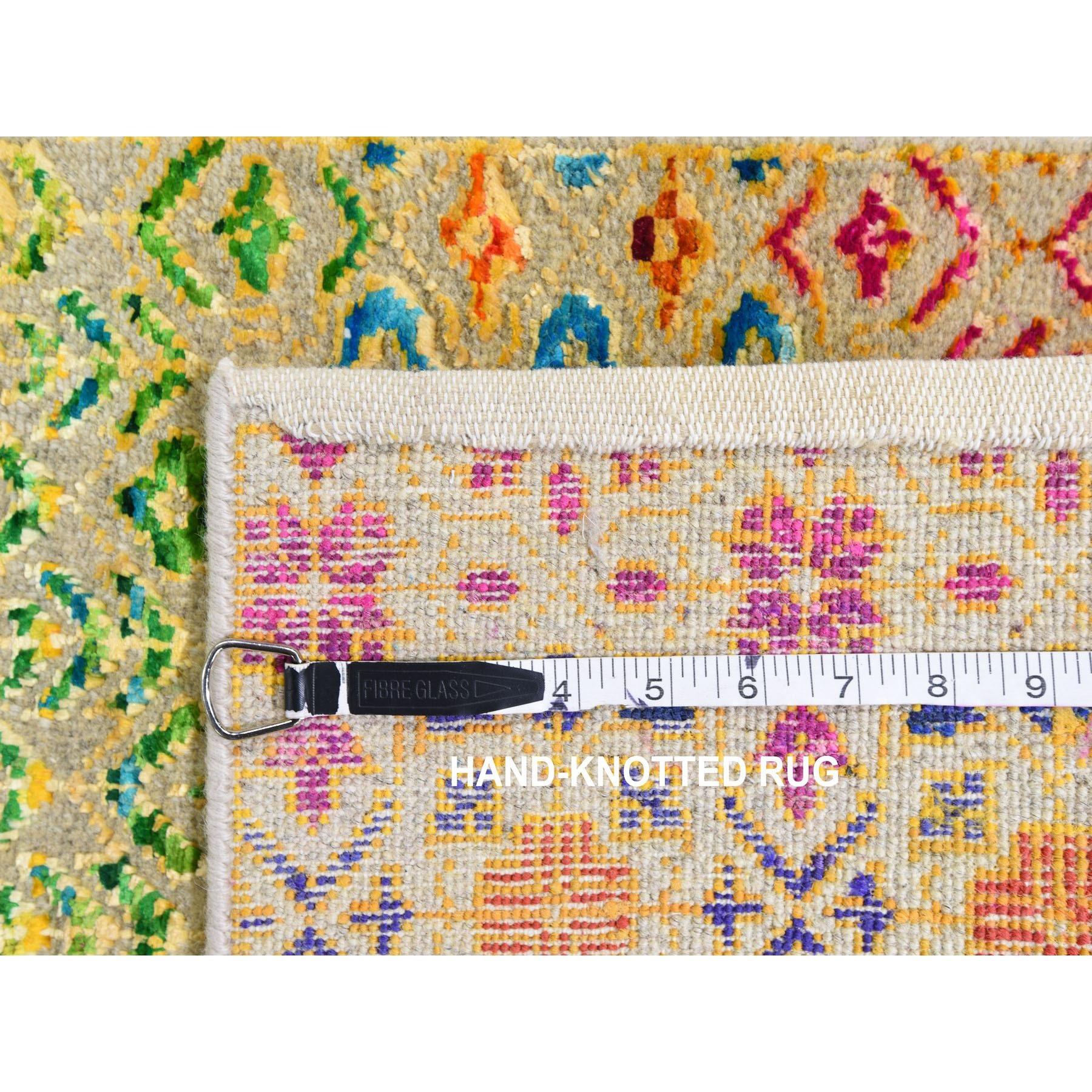 2-x3- Colorful Grass Design Sari Silk Textured Wool Modern Hand Knotted Oriental Rug