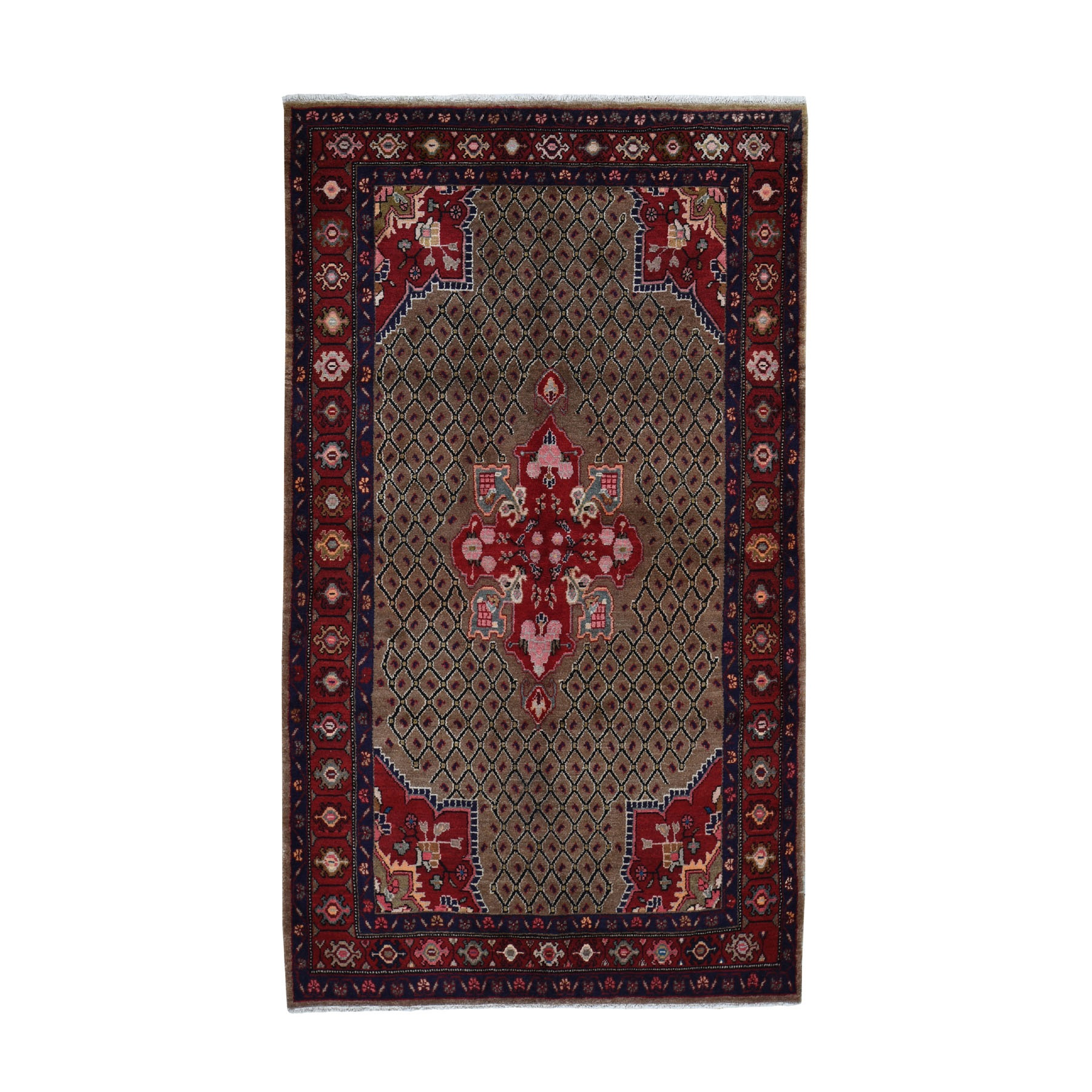 "4'10""X8'4"" Brown New Persian Serab Camel Hair Pure Wool Hand Knotted Oriental Rug moad969e"