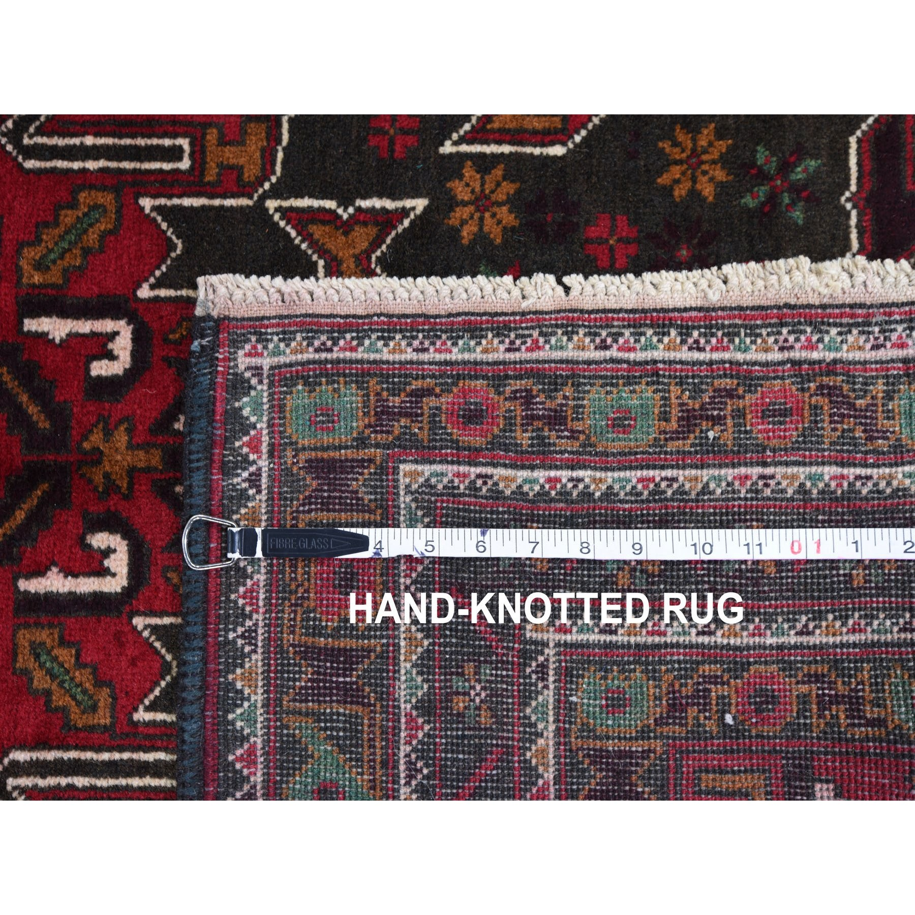 3-8 x6-3  Red Afghan Baluch With Center Medallion Pure Wool Hand Knotted Oriental Rug