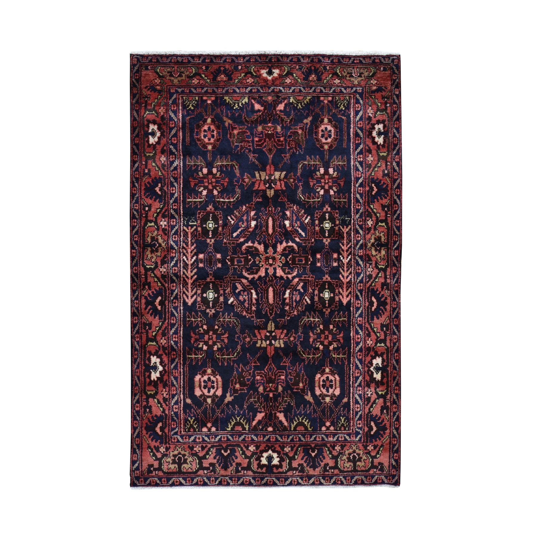 "4'7""X7'2"" Navy New Persian Hamadan All Over Design Pure Wool Hand Knotted Oriental Rug moad970c"