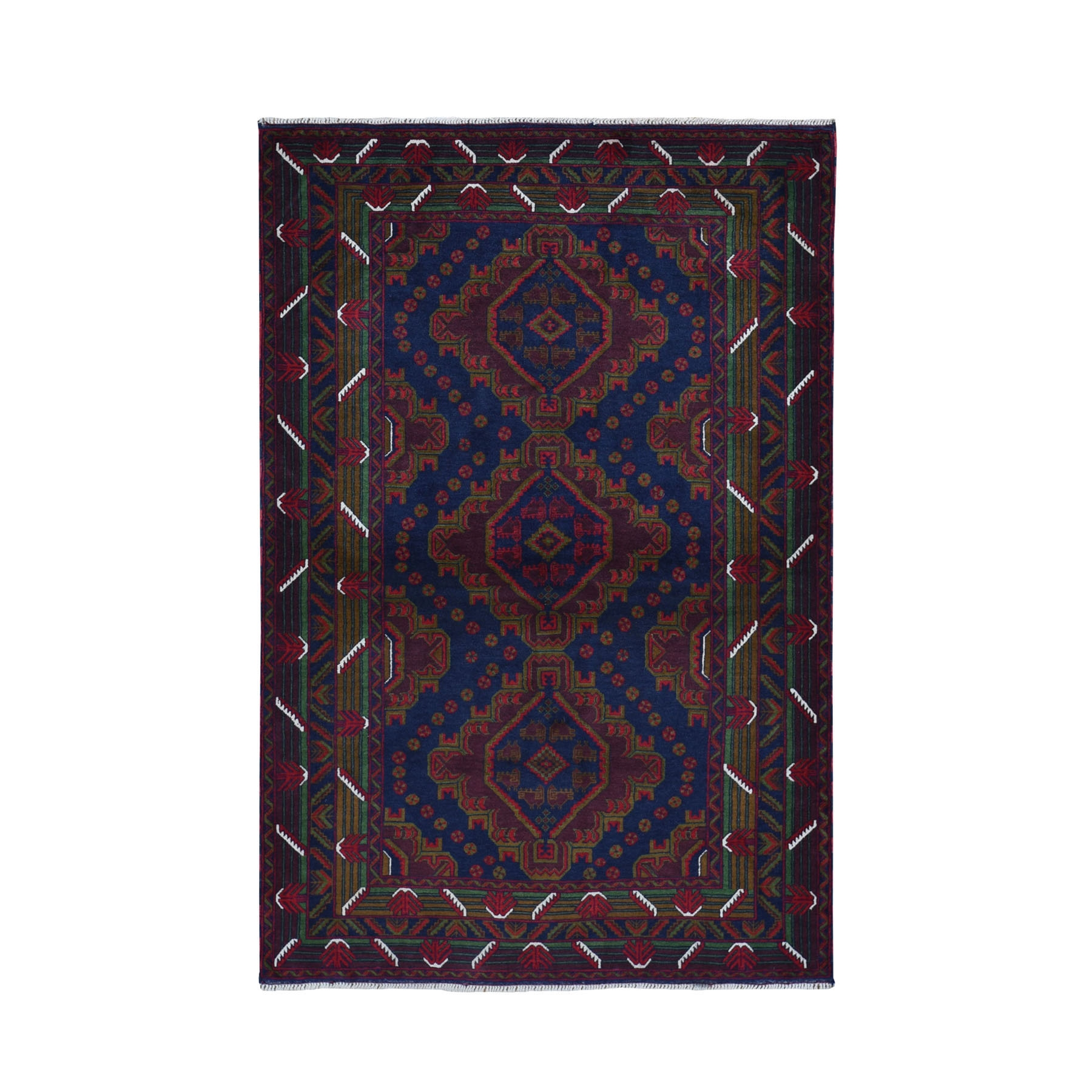"4'X6'4"" Afghan Baluch Touch Of Blue Geometric Design Pure Wool Hand Knotted Oriental Rug moad970e"
