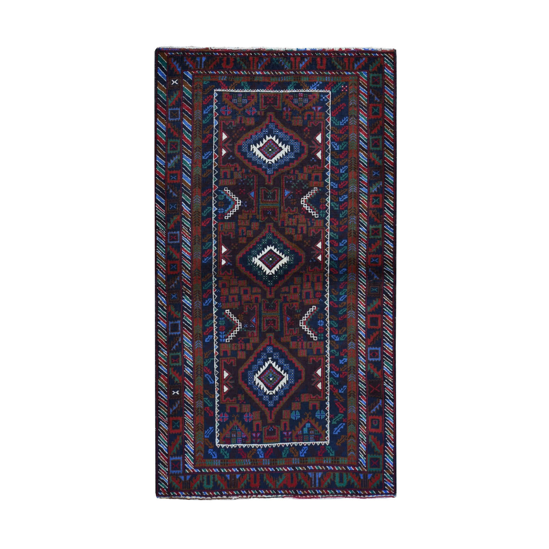 """3'7""""X6'6"""" Afghan Baluch Geometric Design Pure Wool Hand Knotted Oriental Rug moad9706"""