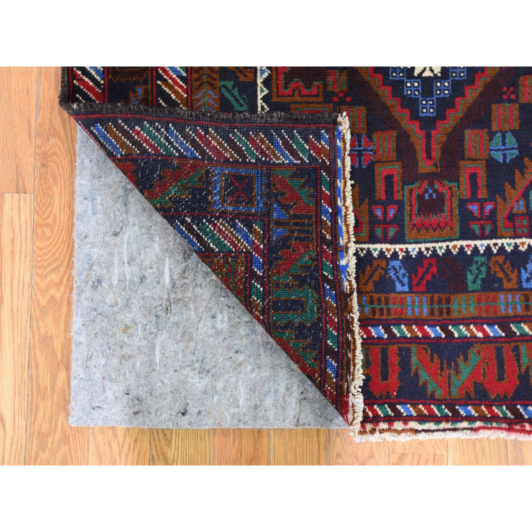 3-7 x6-6  Afghan Baluch Geometric Design Pure Wool Hand Knotted Oriental Rug