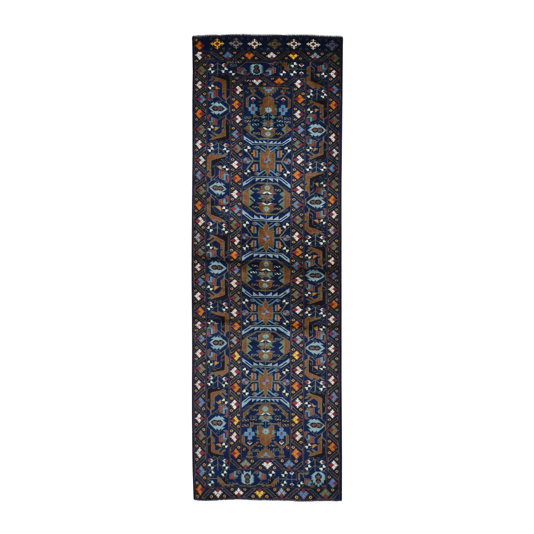 """2'10""""X8'9"""" Navy Blue Afghan Baluch Geometric Design Runner Pure Wool Hand Knotted Oriental Rug moad9707"""